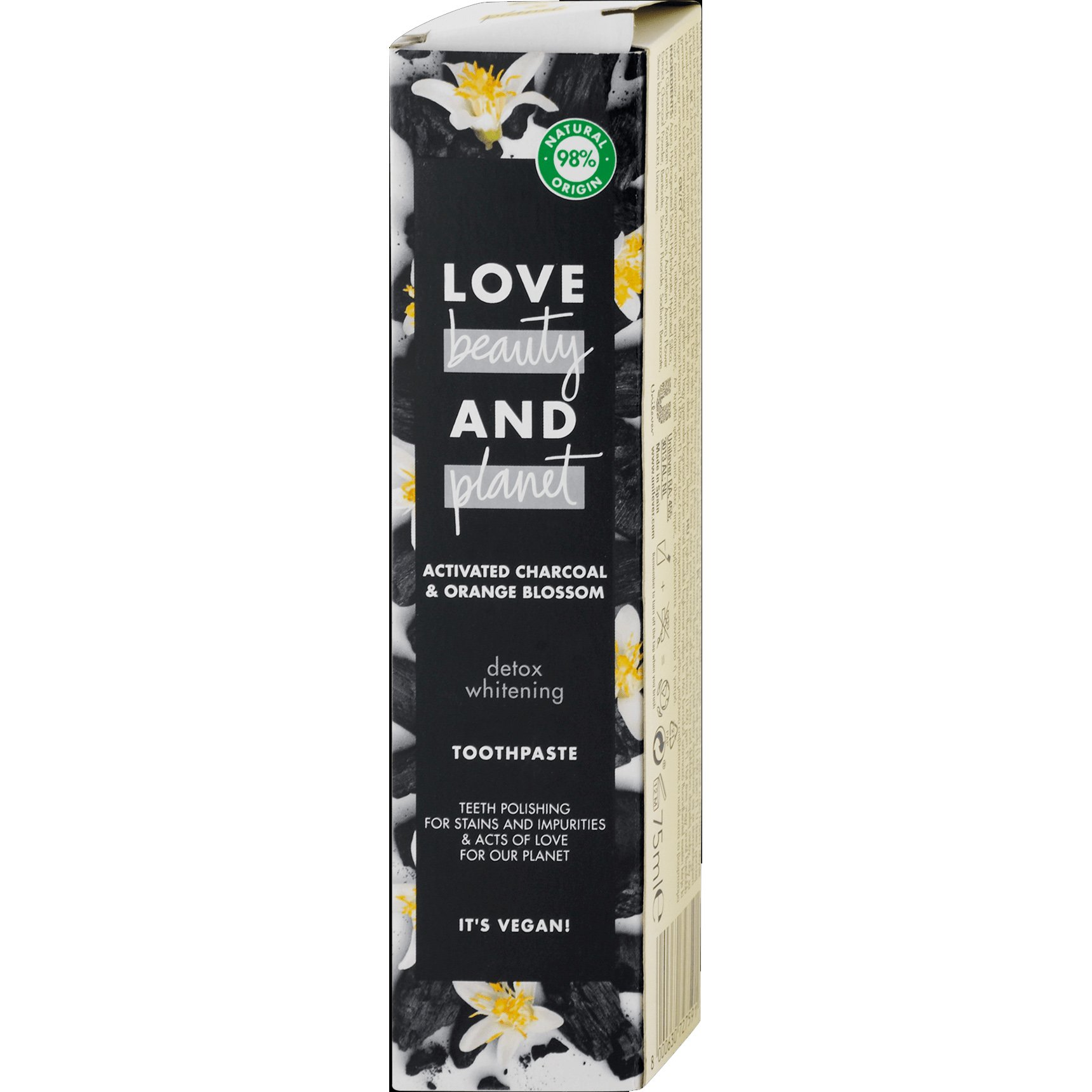 Love Beauty & Planet Activated Charcoal & Orange Blossom Detox Whitening Toothpaste Λευκαντική Οδοντόκρεμα με Ενεργό Άνθρακα 75m