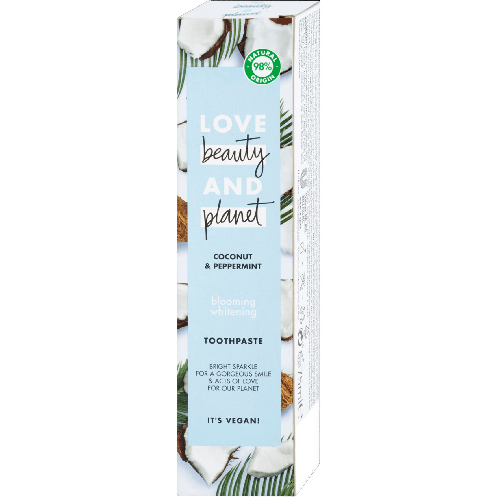 Love Beauty & Planet Coconut & Peppermint Blooming Whitening Toothpaste Οδοντόκρεμα για Λαμπερό & Λευκό Χαμόγελο 75ml