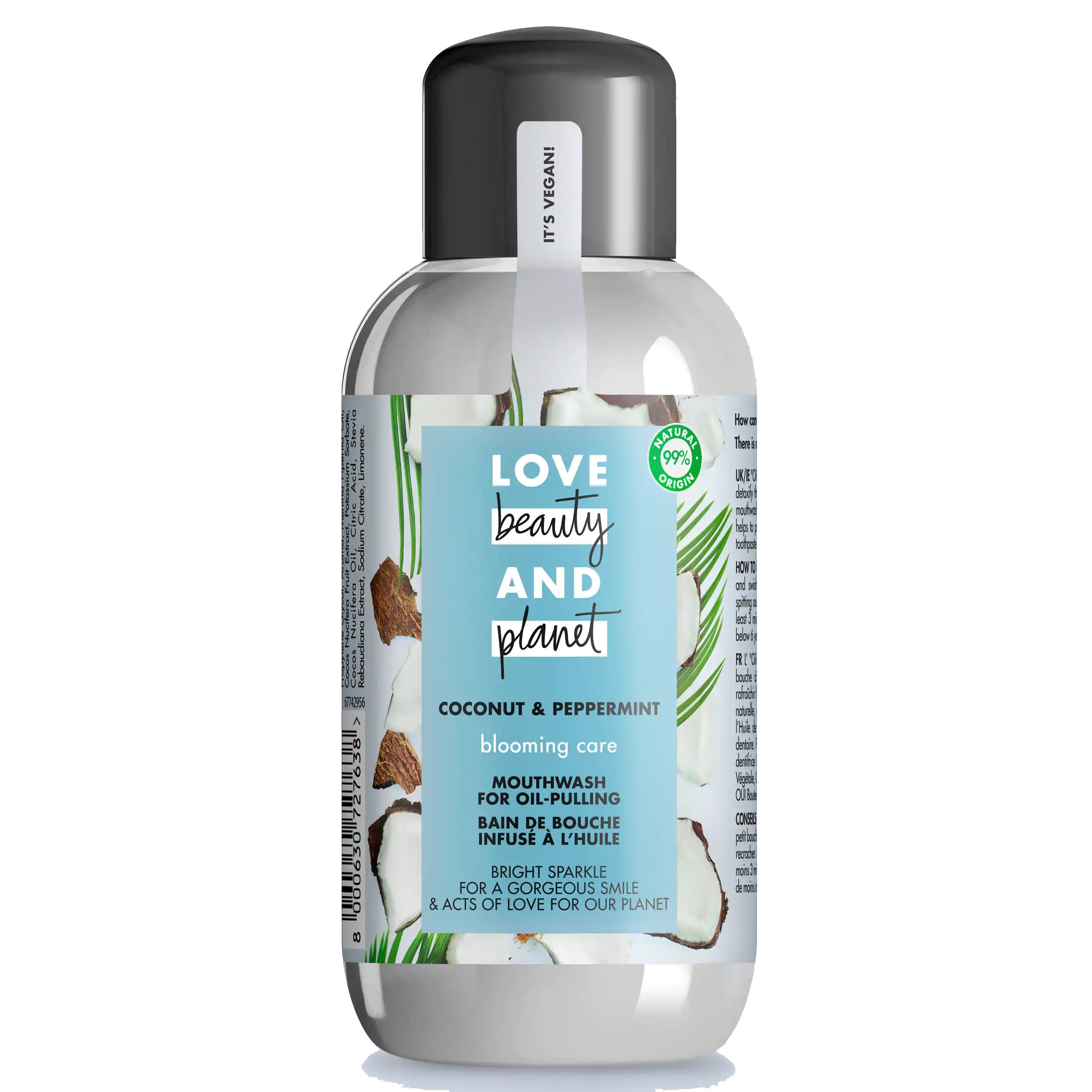 Love Beauty & Planet Coconut & Peppermint Blooming Care Mouthwash Στοματικό Διάλυμα, Πρόληψη της Πλάκας & Δροσερή Αναπνοή 250ml