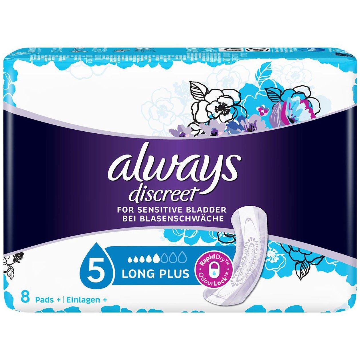 Always Discreet for Sensitive Bladder Long Plus Pads Σερβιέτες Ακράτειας για Πολύ Μεγάλη Ένταση 8 Τεμάχια