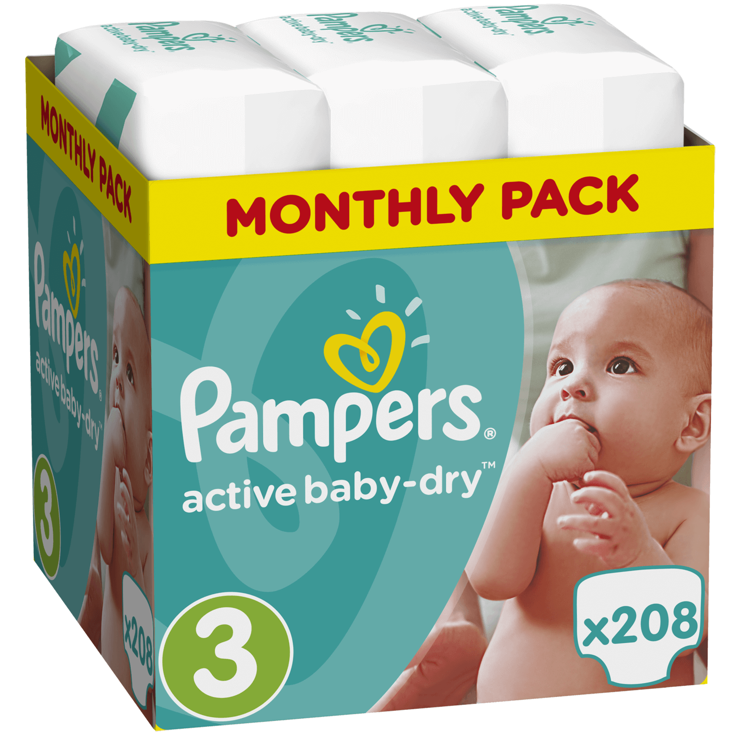 Pampers Active Baby Dry Monthly Pack No3 (5-9kg) 208 πάνες, μόνο 0,19€ / πάνα μητέρα παιδί   περιποίηση για το μωρό   πάνες για το μωρό