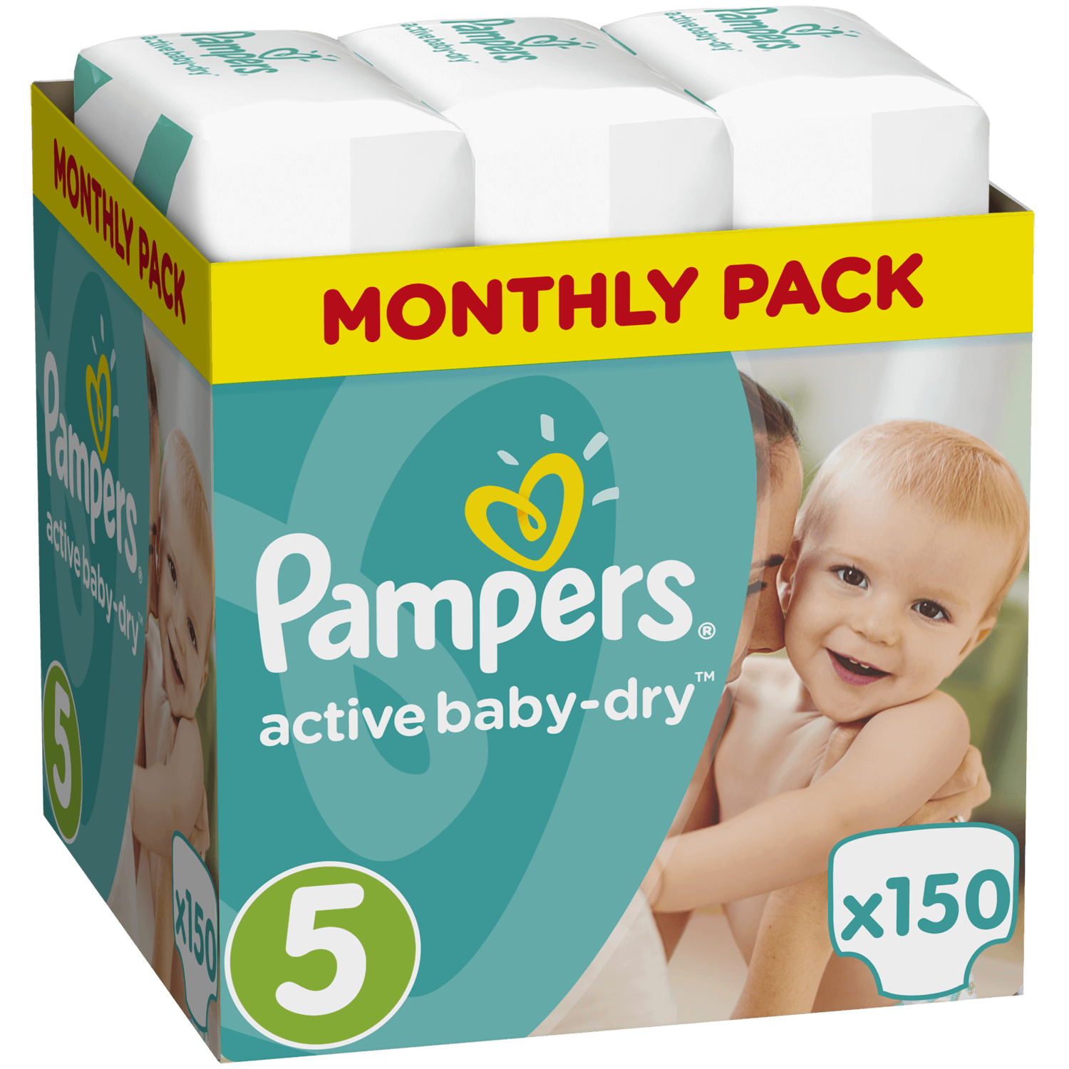 Pampers Active Baby Dry Monthly Pack No5 (11-18kg) 150 πάνες, μόνο 0,27€ / πάνα μητέρα παιδί   περιποίηση για το μωρό   πάνες για το μωρό