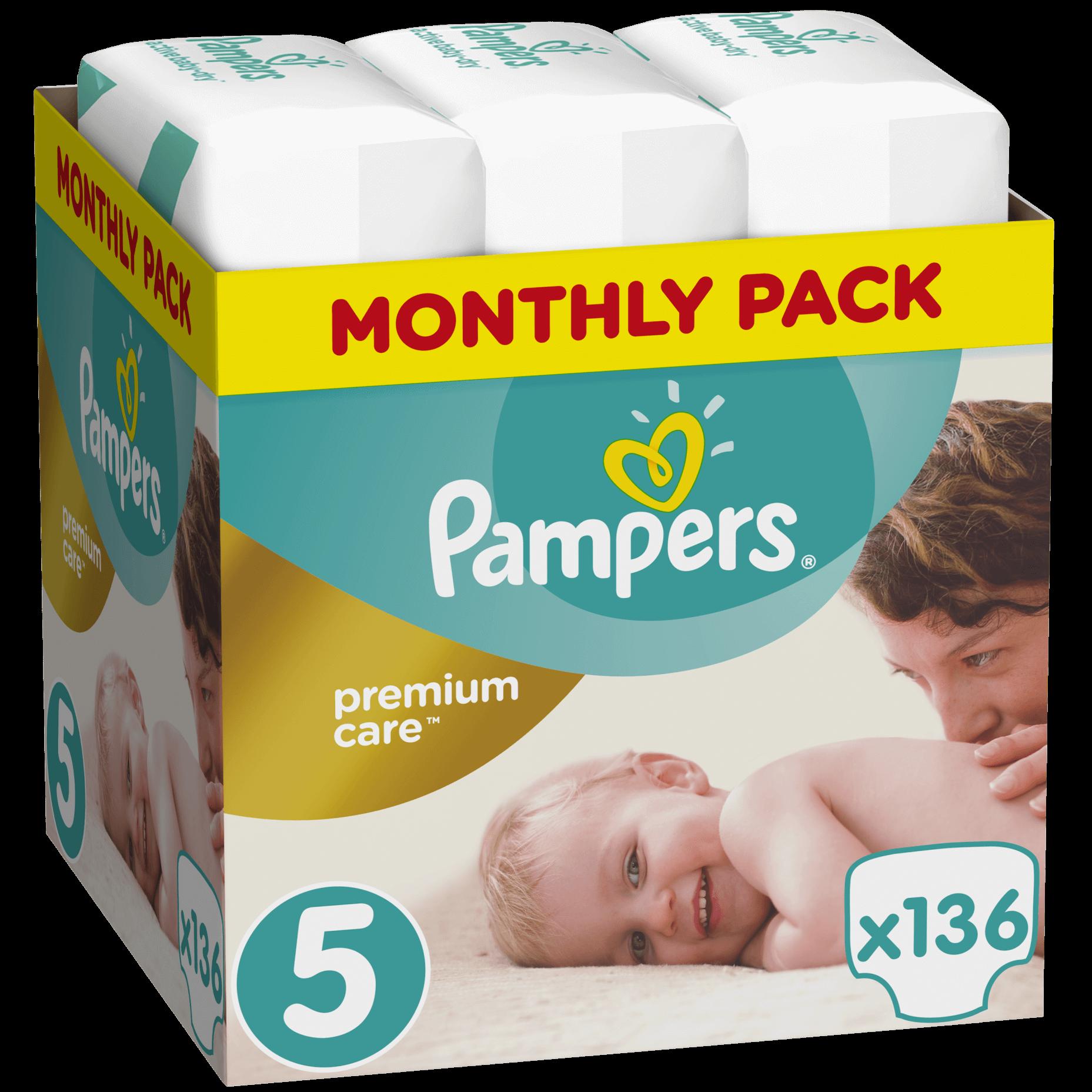 Pampers Premium Care Monthly Pack No5 (11-18kg) 136 πάνες, μόνο 0,33€ / πάνα μητέρα παιδί   περιποίηση για το μωρό   πάνες για το μωρό
