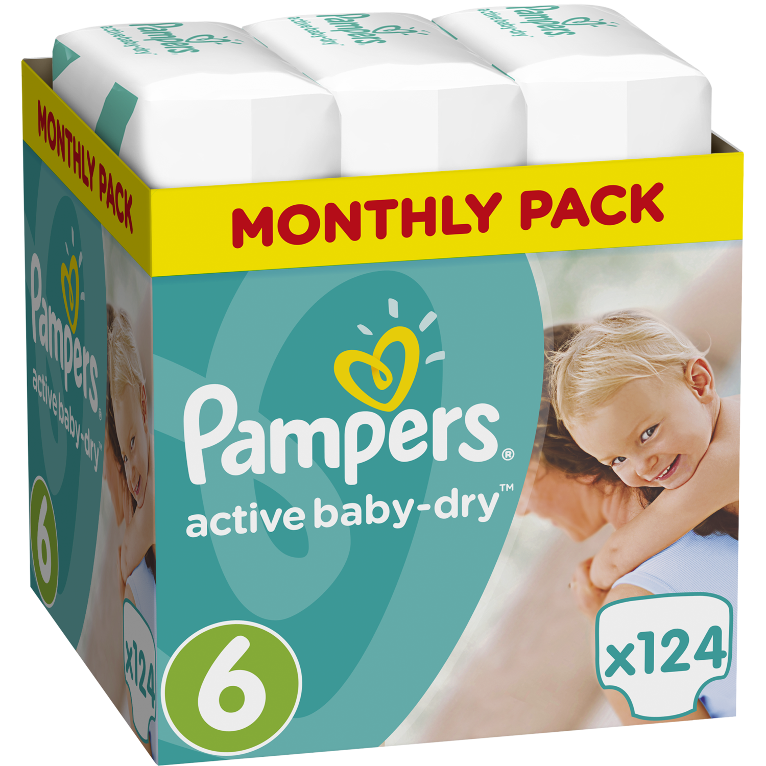 Pampers Active Baby Dry Monthly Pack No6 (15+kg) 124 πάνες, μόνο 0,32€ / πάνα 19620