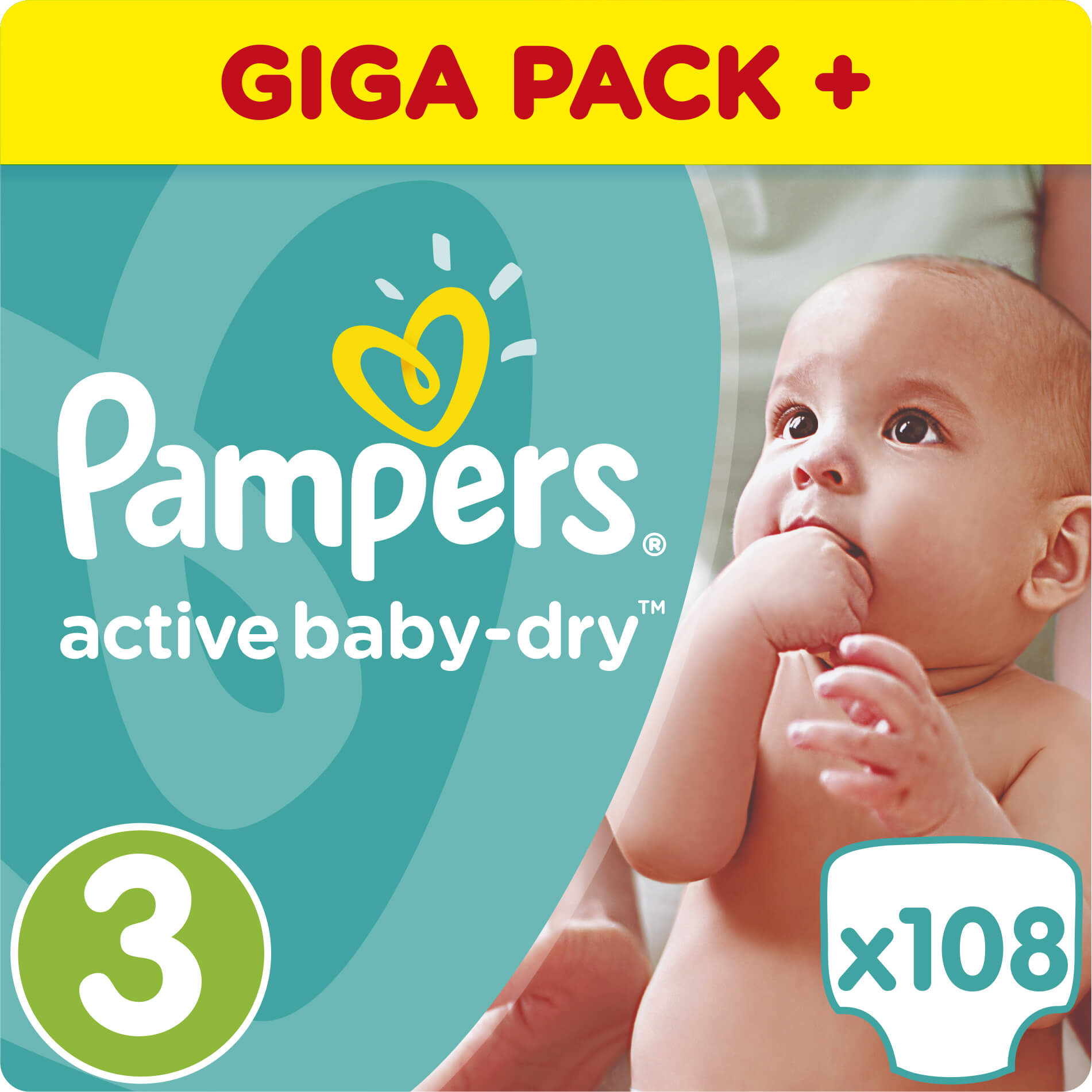 Pampers Active Baby Dry Giant Pack No3 (5-9kg) 108 πάνες μητέρα παιδί   περιποίηση για το μωρό   πάνες για το μωρό