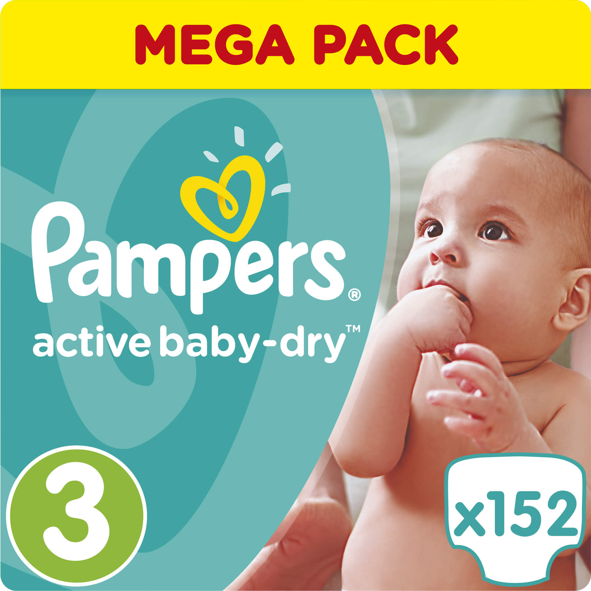 Pampers Active Baby Dry Mega Pack No3 (5-9kg) 152 πάνες, μόνο 0,23€ / πάνα