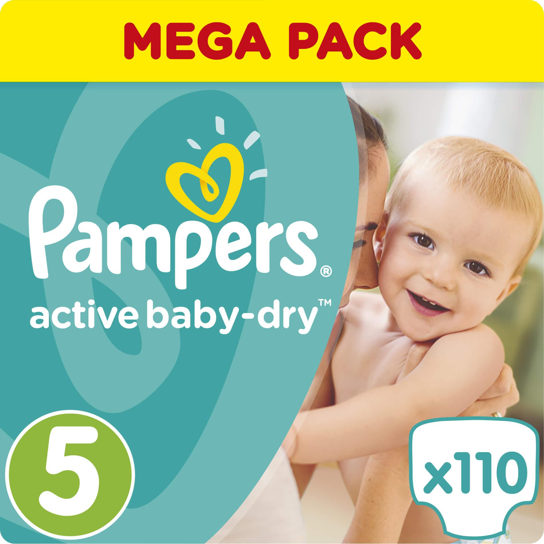 Pampers Active Baby Dry Mega Pack No5 (11-18kg) 110 Πάνες, μόνο 0,32€ / πάνα μητέρα παιδί   περιποίηση για το μωρό   πάνες για το μωρό