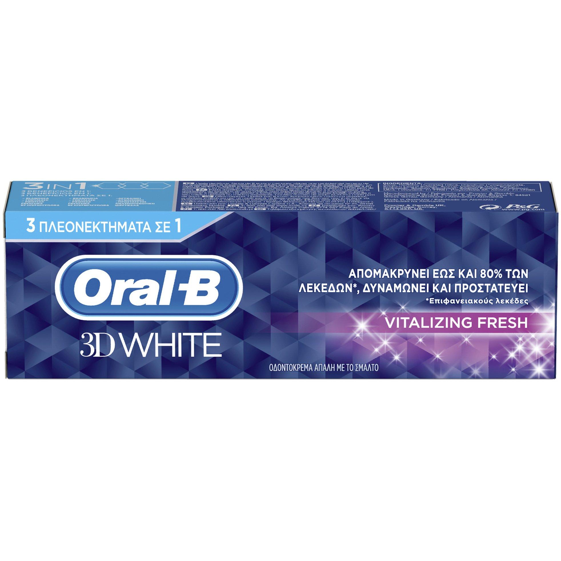Oral-B 3D White Vitalizing Fresh Toothpaste Οδοντόκρεμα για Ορατά πιο Λευκά Δόντια Μέσα σε 2 Εβδομάδες 75ml