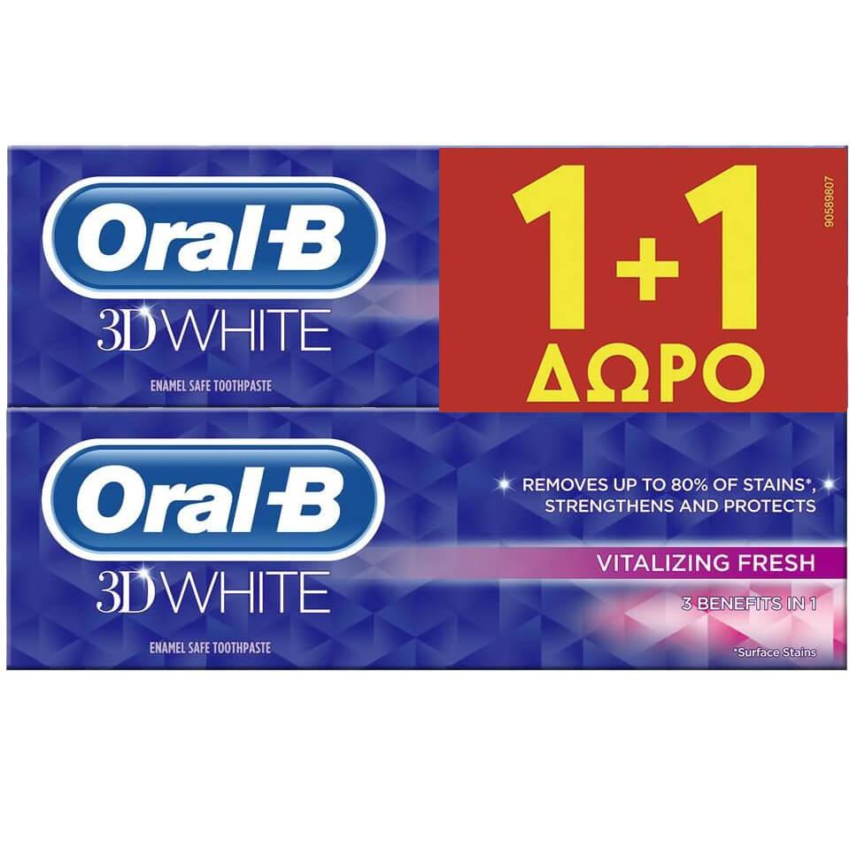 Oral-B 3D Πακέτο Προσφοράς White Vitalizing Fresh Οδοντόκρεμα Λεύκανσης 2x75ml