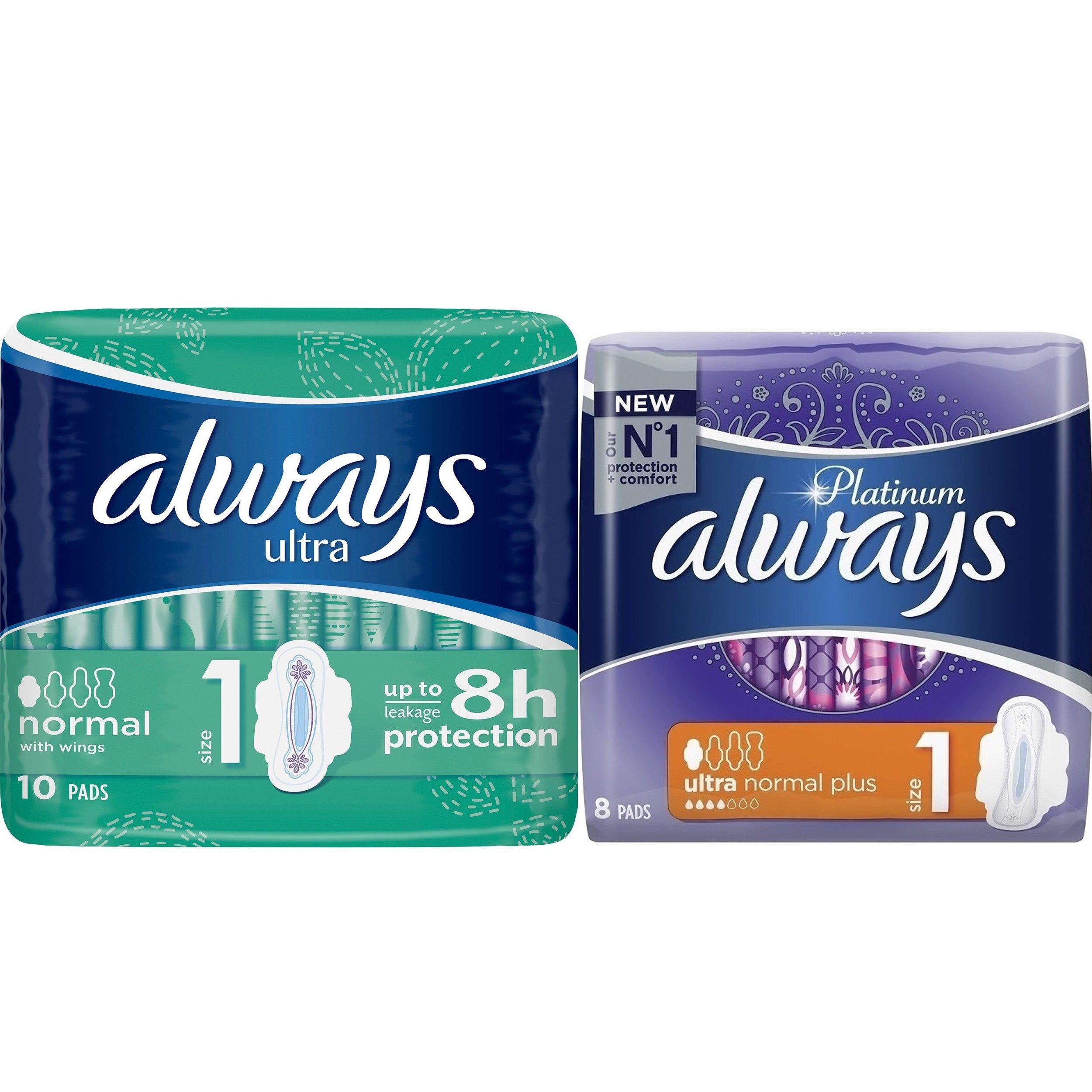 Always Πακέτο Προσφοράς Ultra Normal Σερβιέτες για 100% Προστασία 10 Τεμάχια & Platinum Normal Plus 8 Τεμάχια 1+1 Δώρο
