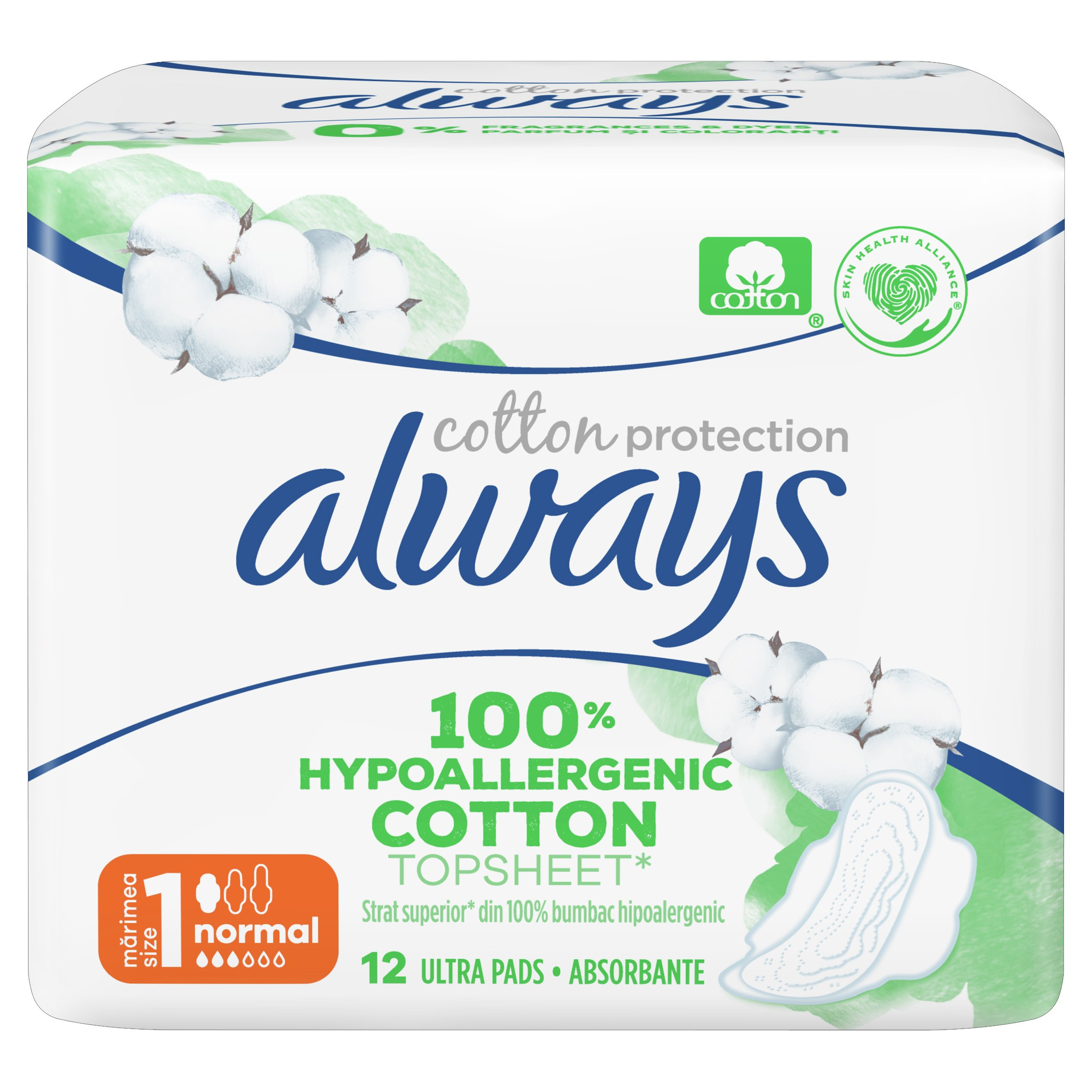 Always Cotton Protection Normal Σερβιέτες με Φτερά & Κάλυμμα από 100% Οργανικό Βαμβάκι για Κανονική Ροή 12 Pads