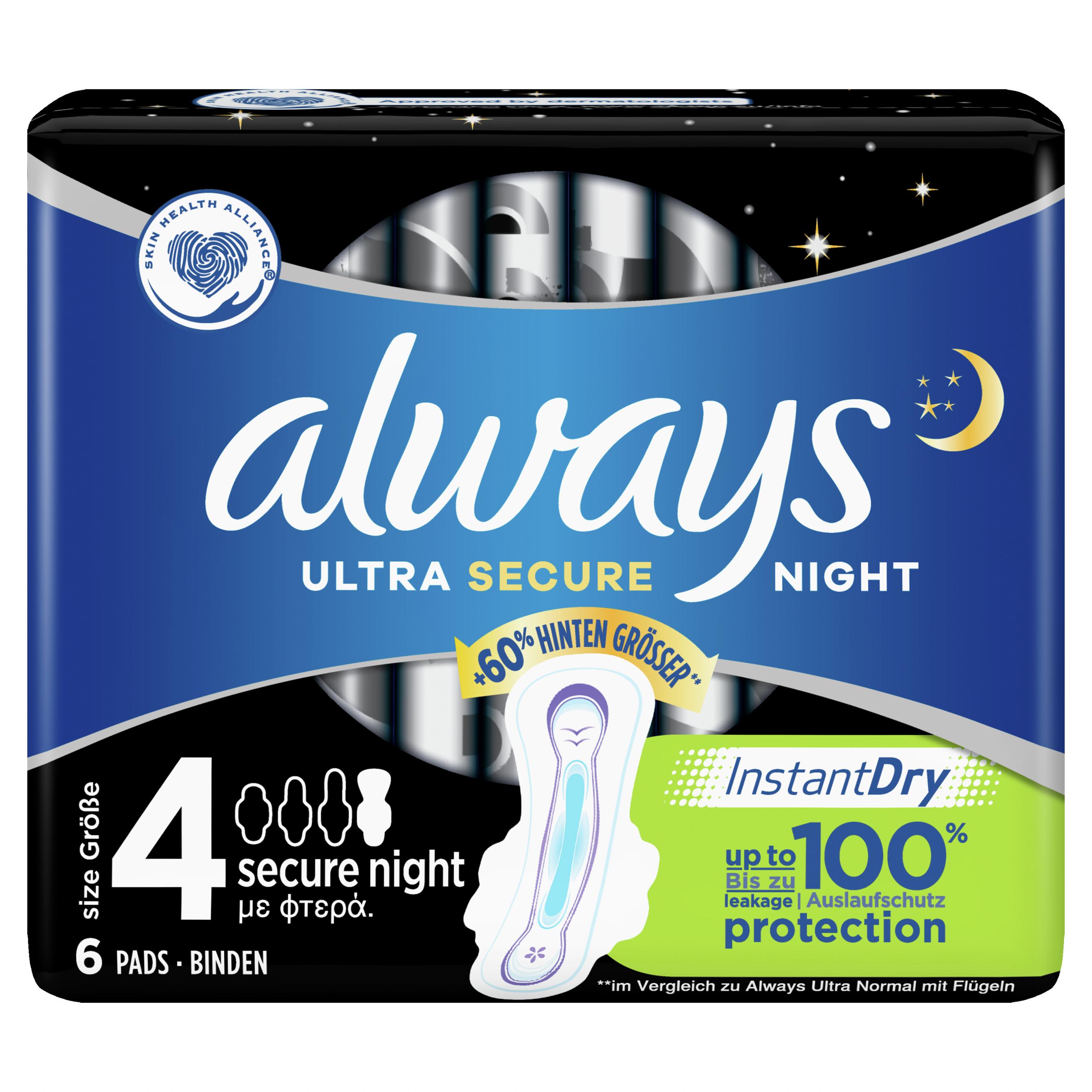 Always Σερβιέτες Ultra Secure Night Σερβιέτες για Αίσθηση Καθαριότητας & Φρεσκάδας για Μέχρι & 8 Ώρες 6 τεμάχια