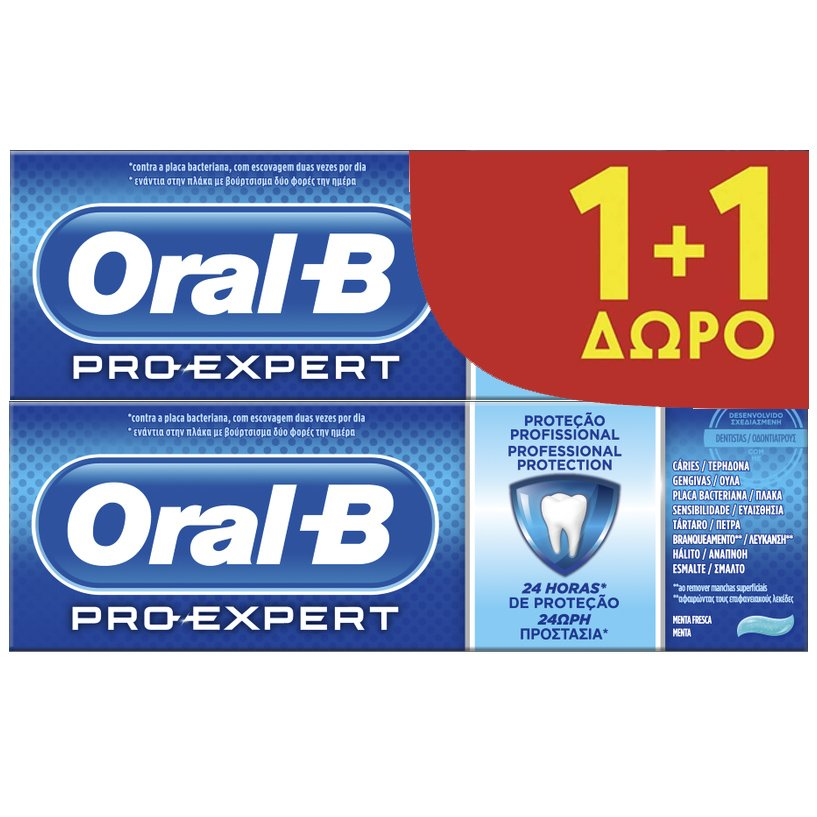 Oral-B Πακέτο Προσφοράς Pro-Expert Thoothpaste Οδοντόκρεμα Πολλαπλής Προστασίας με Δροσερή Γεύση Μέντας 2x75ml 1+1 Δώρο