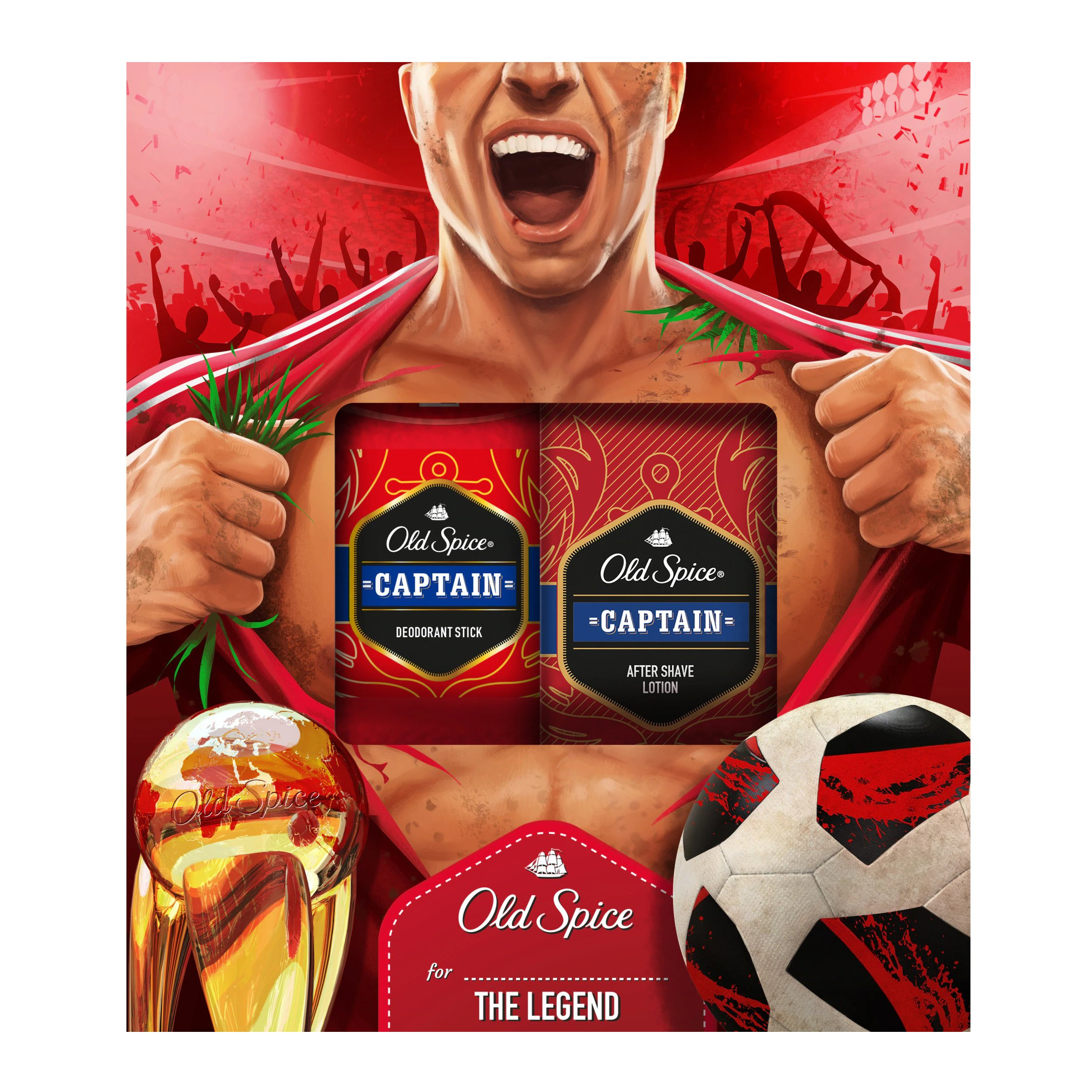 Old Spice Gift Box Captain Football Deodorant Stick 50ml & Captain After Shave Lotion 100ml
