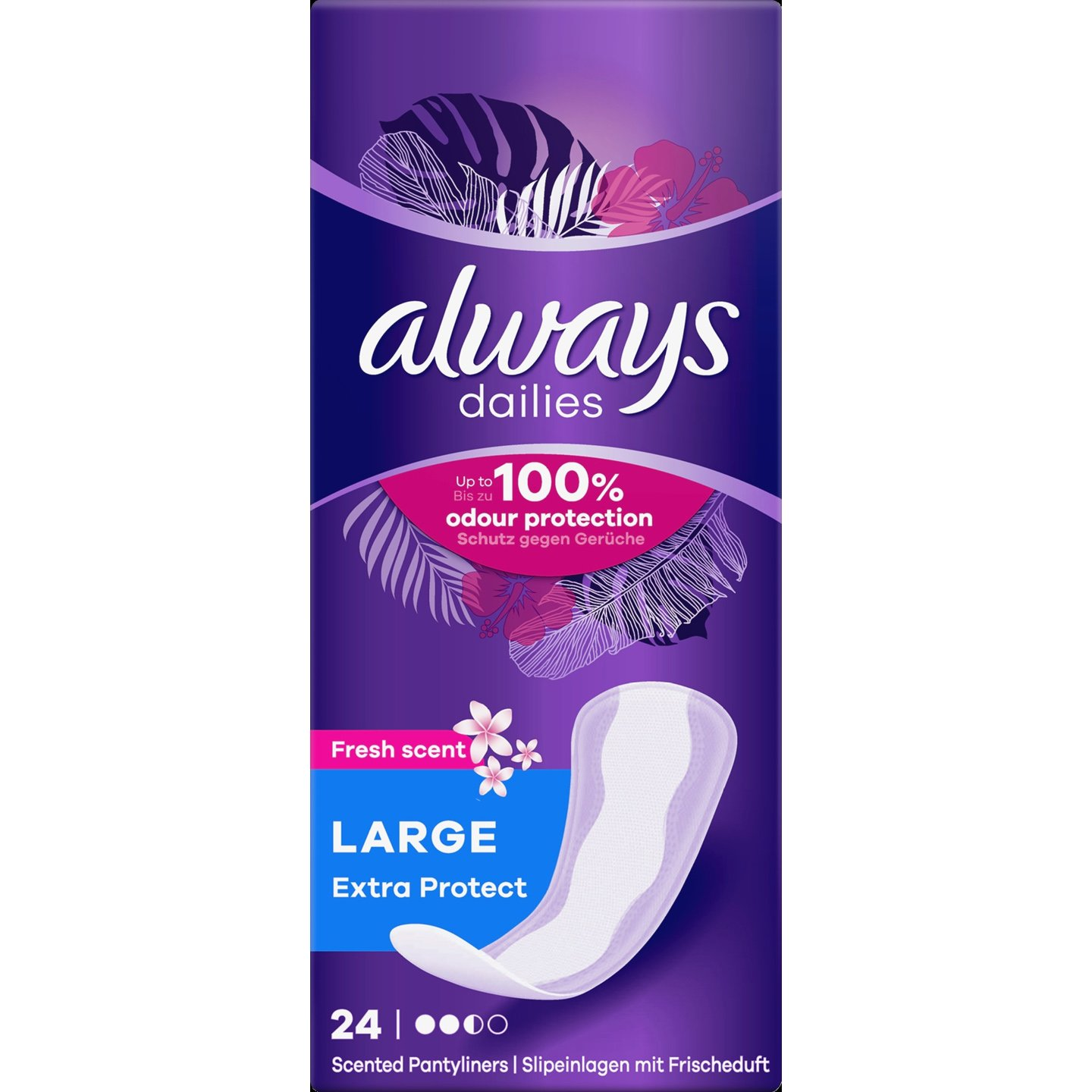 Always Dailies Extra Protect Large Fresh Scent Σερβιετάκια 24 τεμάχια