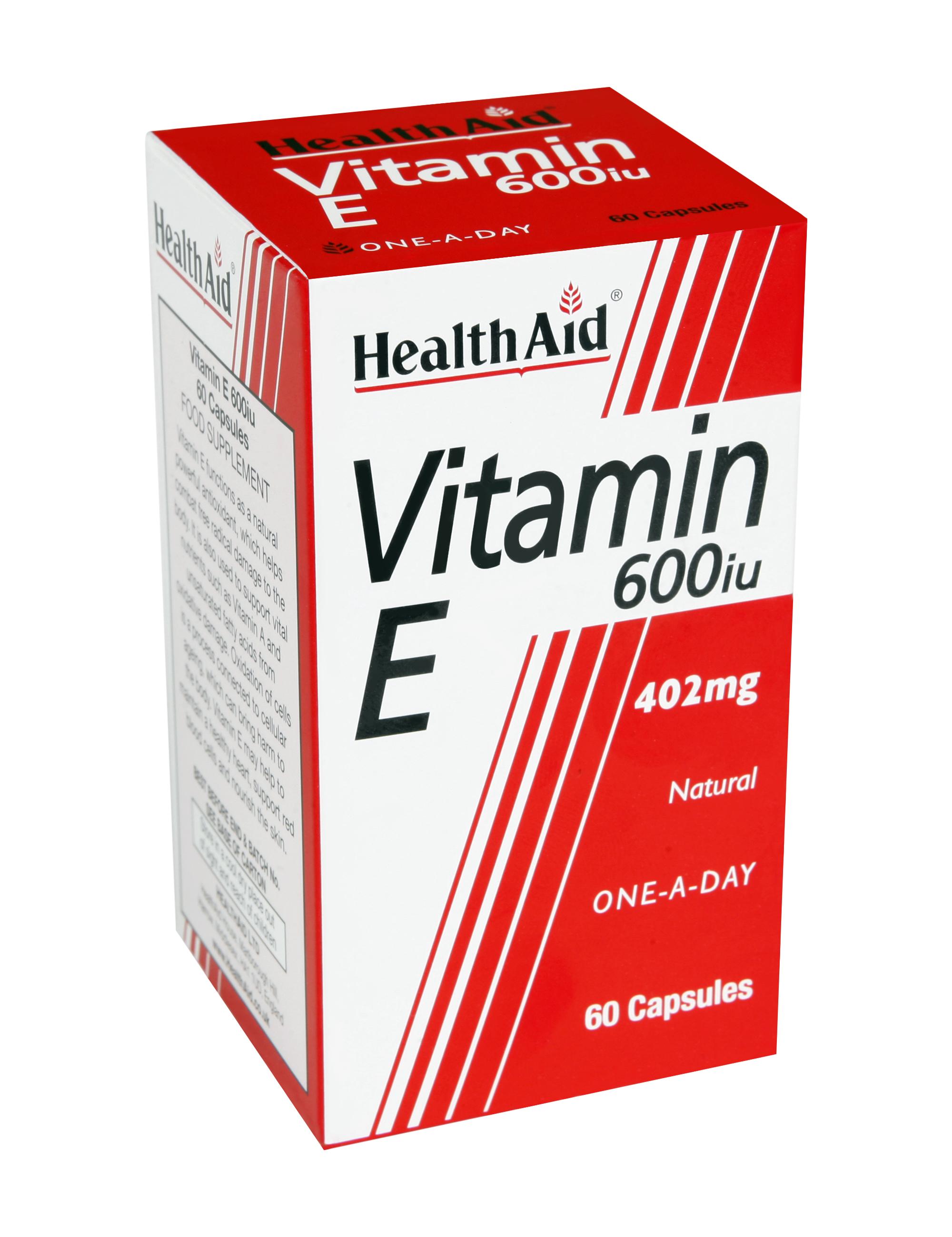 Health Aid Vitamin E 600Iu Ενεργό Αντιοξειδωτικό 60tabs