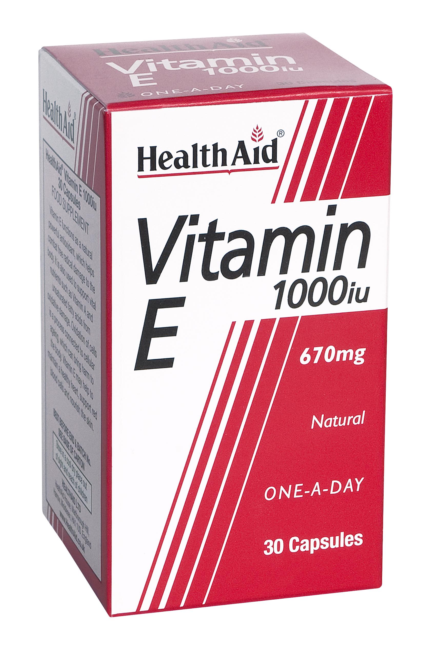 Health Aid Vitamin E 1000Iu Ενεργό Αντιοξειδωτικό 30tabs