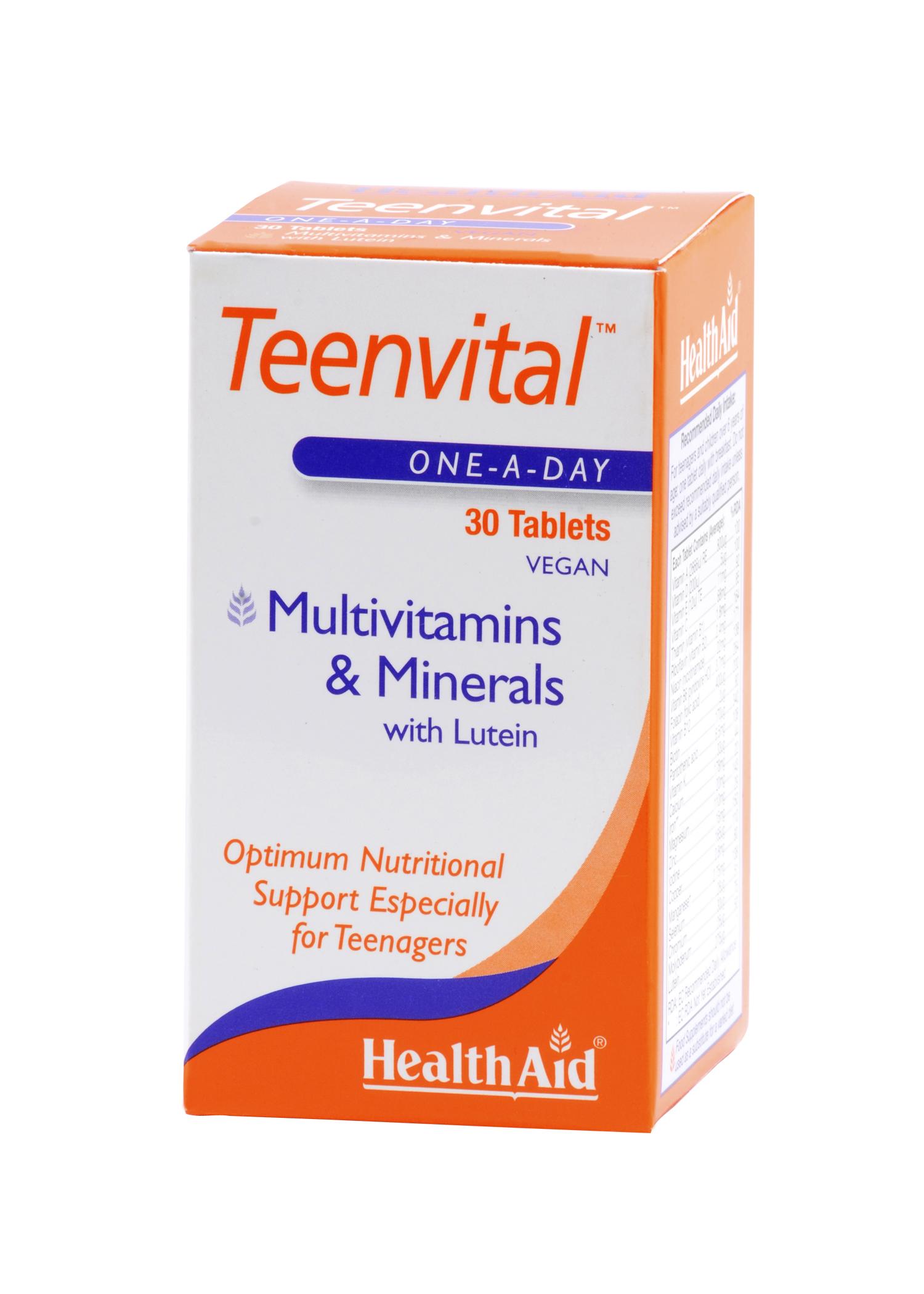 Health Aid Teenvital Tablets Καλύπτει Τις Ειδικές Απαιτήσεις Των Εφήβων 30tabs (Ages 12-16)