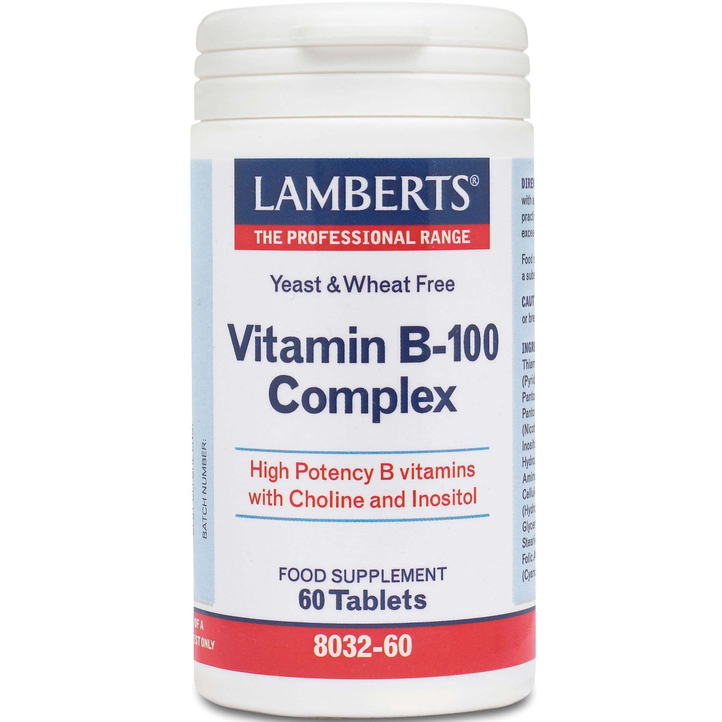Lamberts B-100 Complex Συμπλήρωμα Διατροφής για Υγιές Νευρικό και Πεπτικό Σύστημα – 60 tabs