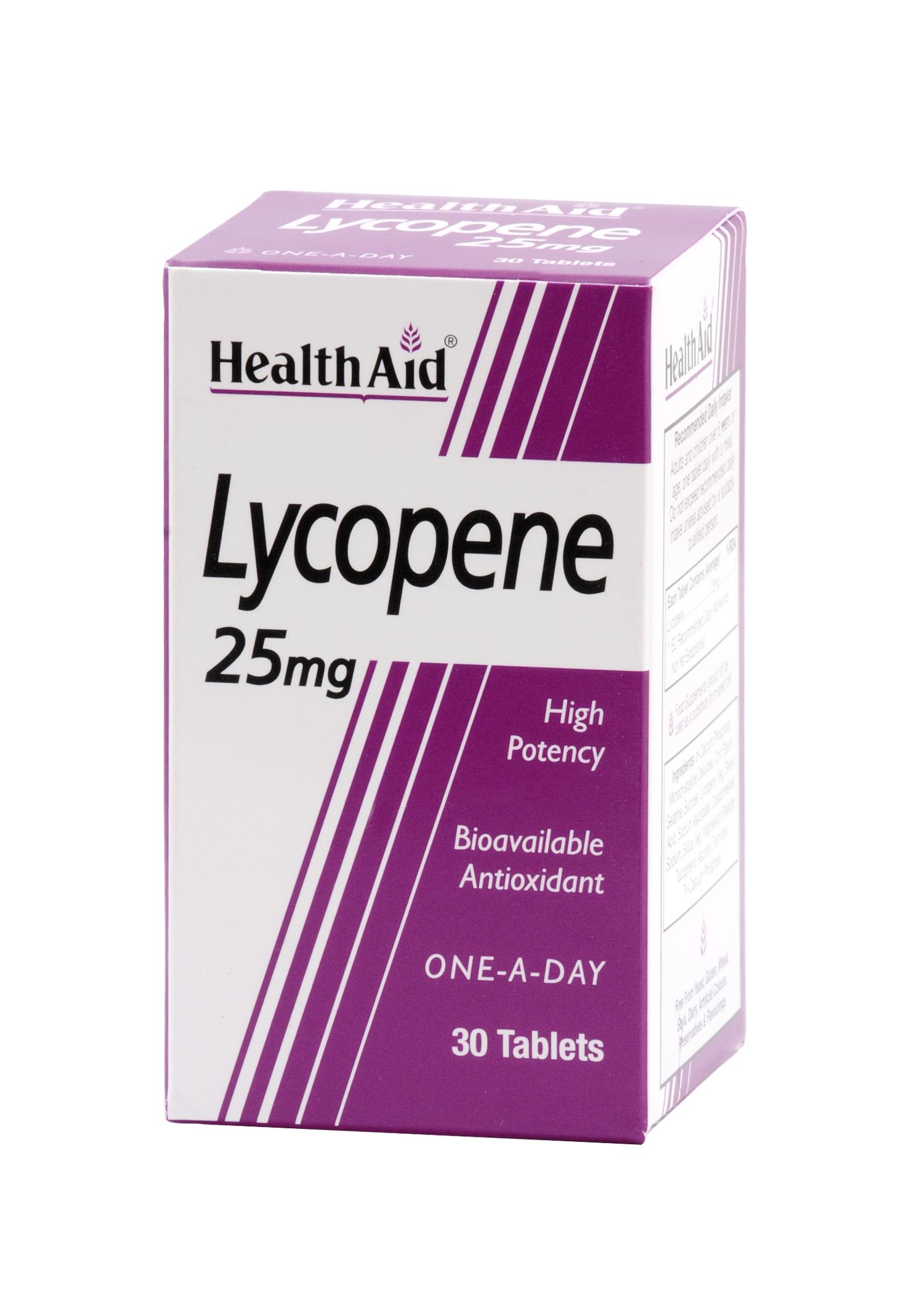 Health Aid Lycopene 25 mg Καροτινοειδές Με Ισχυρή Αντιοξειδωτική Δράση 30tabs