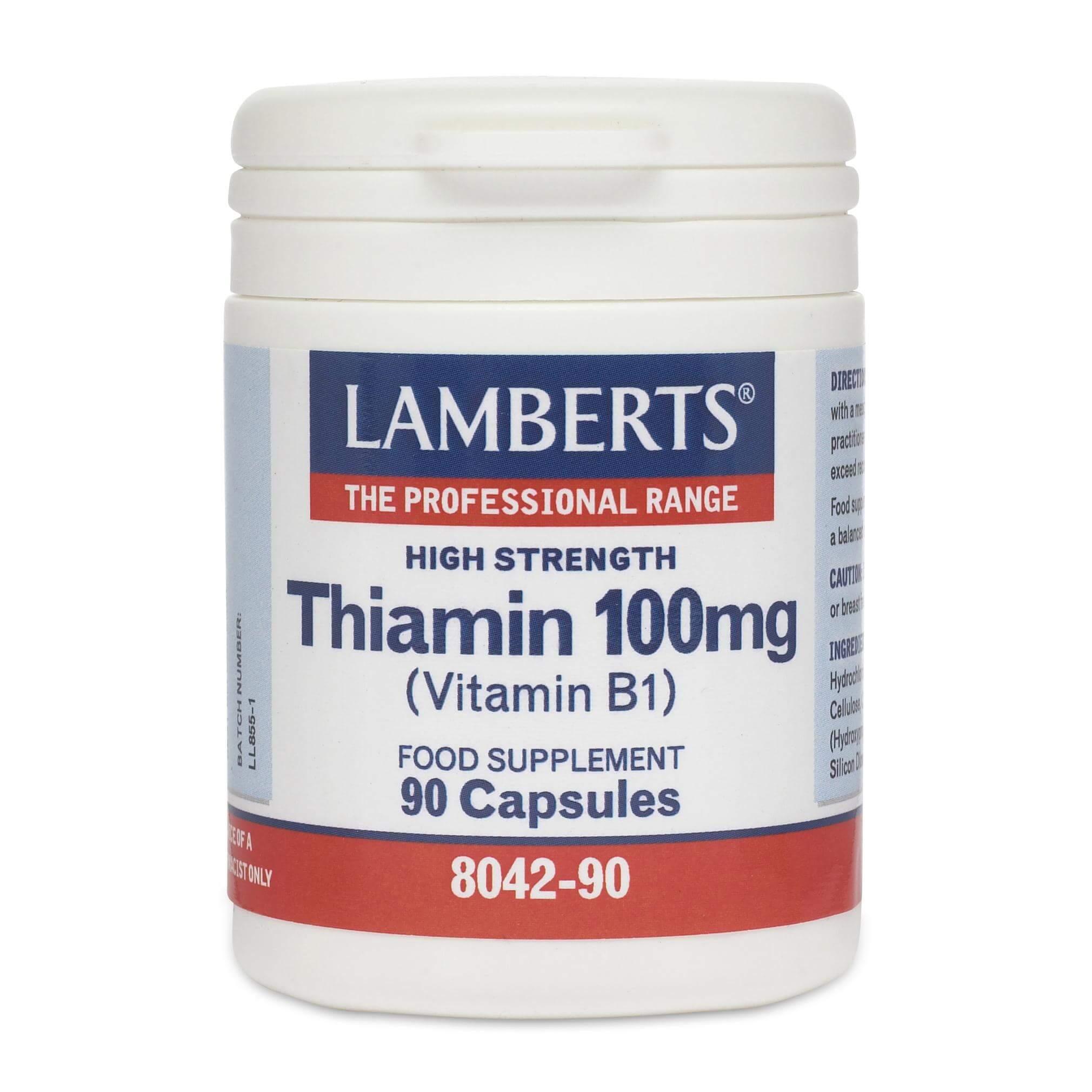 Lamberts Thiamin Συμπλήρωμα Διατροφής Βιταμίνης Β1 100mg 90caps