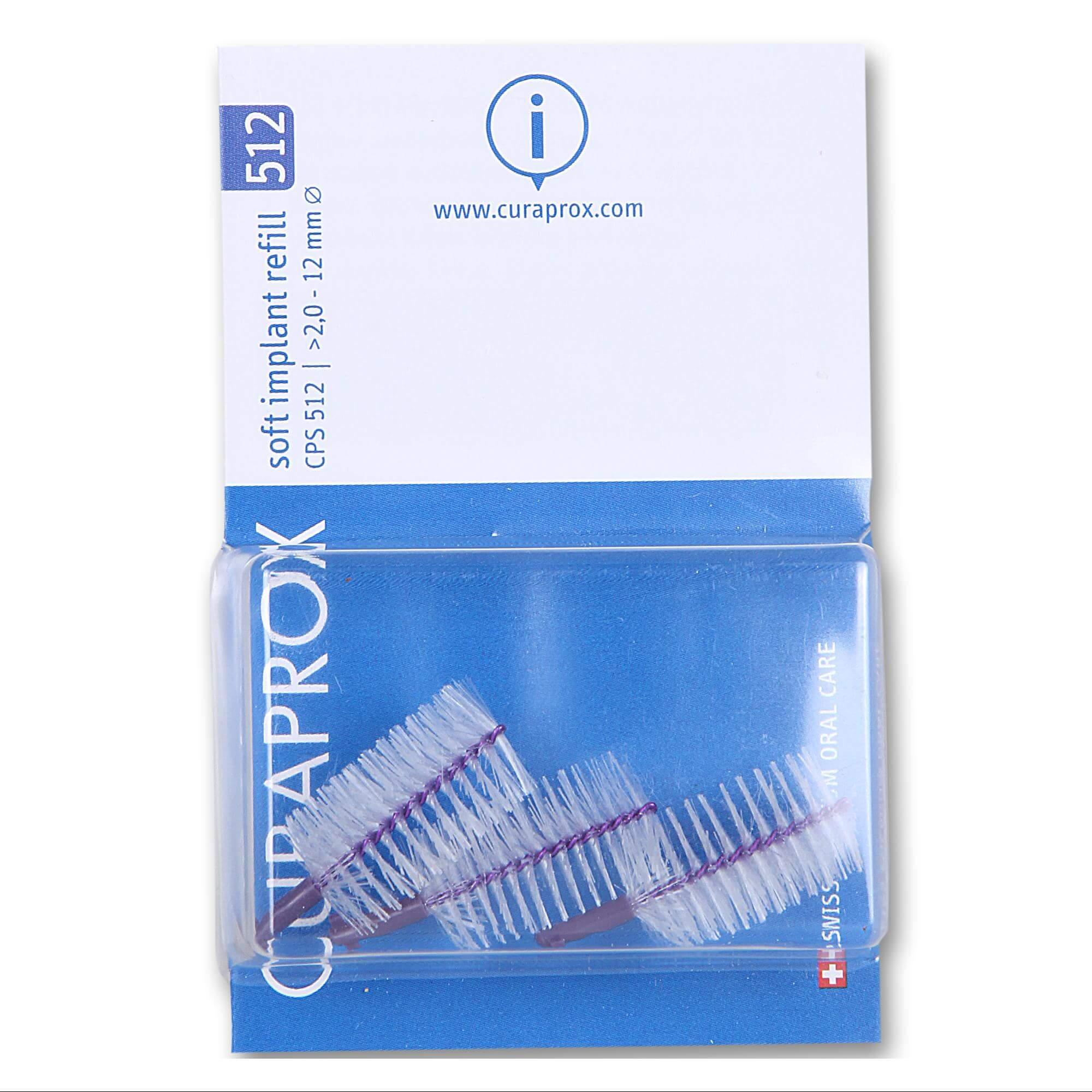 Curaprox CPS 512 Soft Implant Ανταλλακτικά για Μεσοδόντια Βουρτσάκια Εμφυτευμάτων Μωβ 3 Τεμάχια