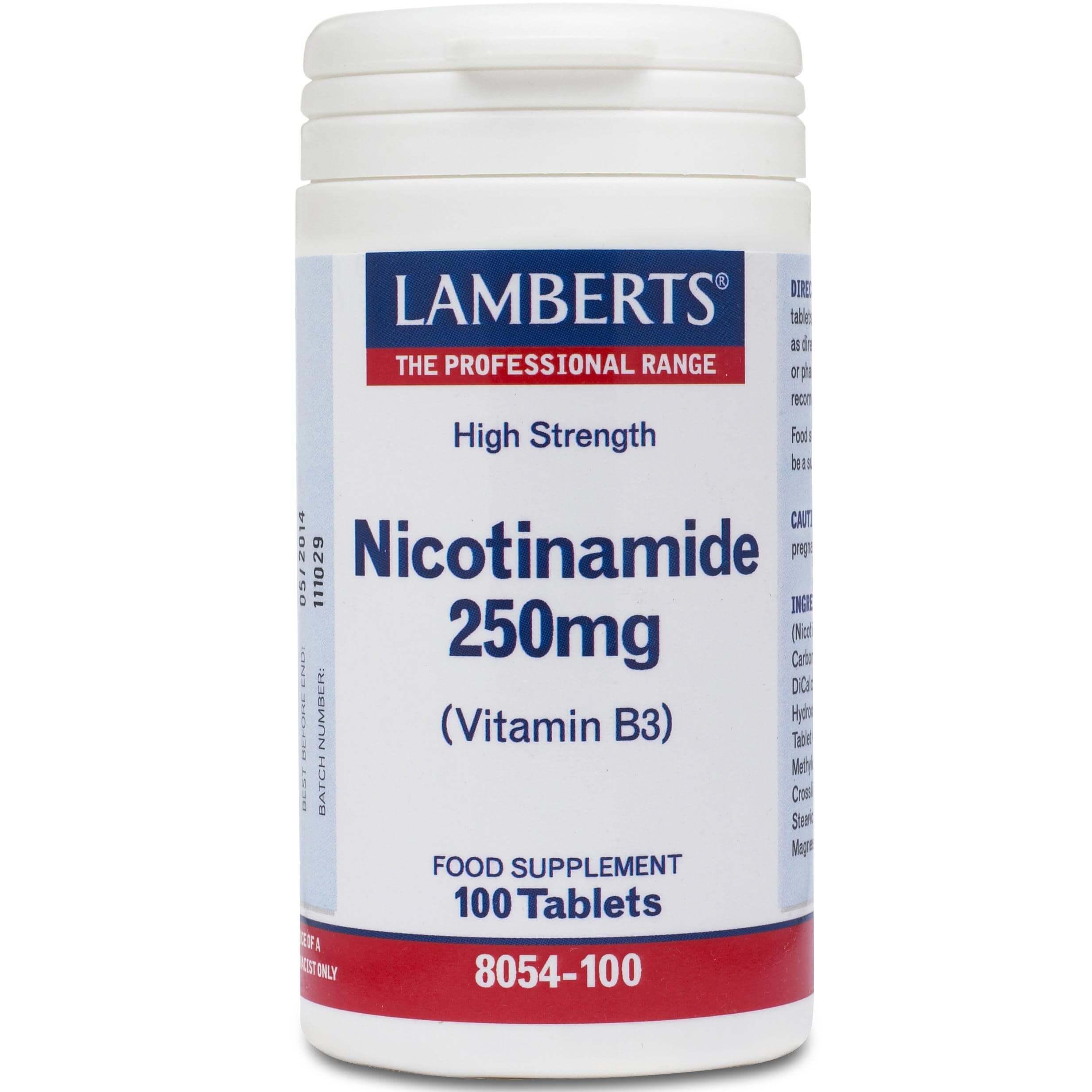 Lamberts NicotinamideΣυμπλήρωμα Διατροφής για τη Μνήμη και τη Πνευματική Απόδοση250mg100tabs