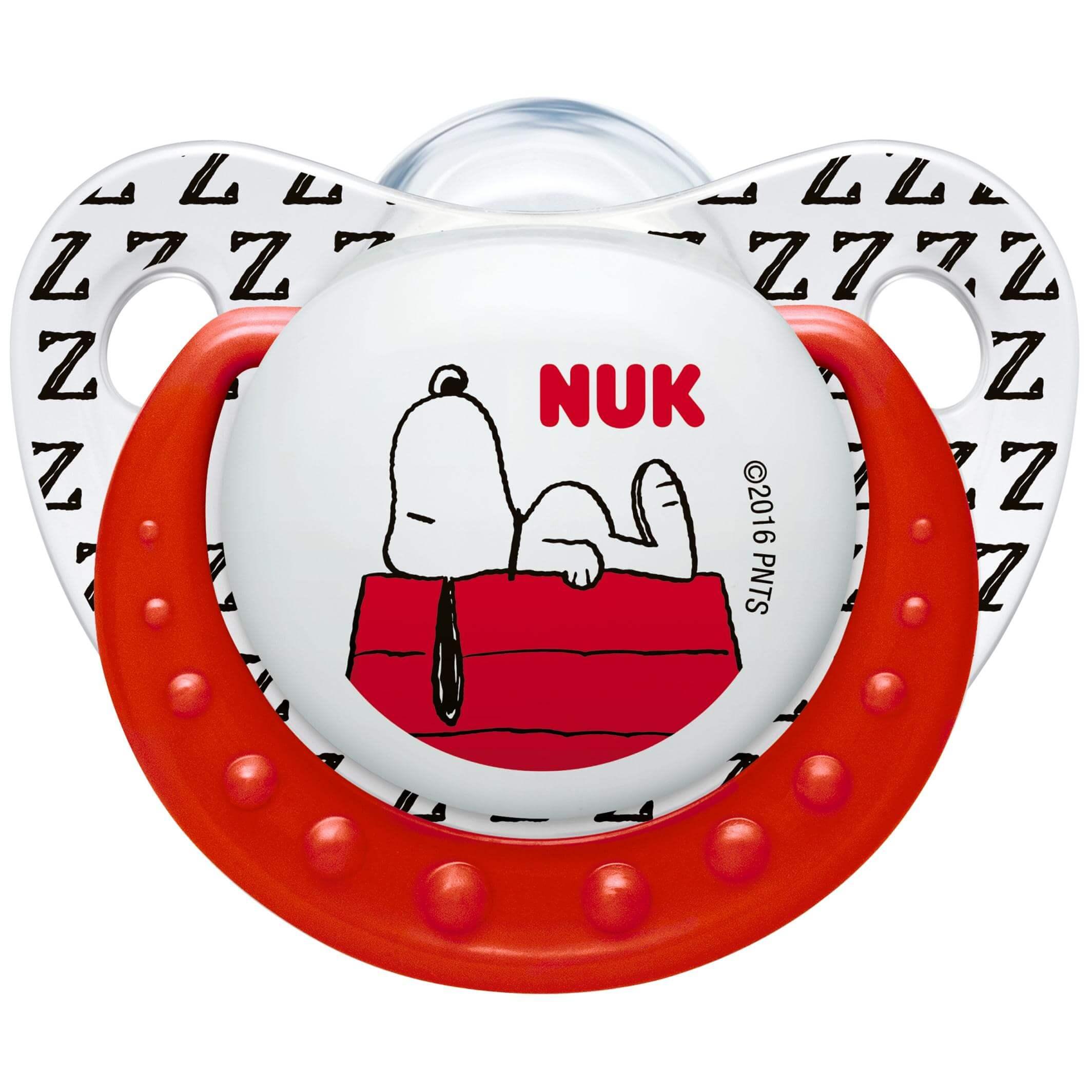NukTrendline SnoopyPeanuts Πιπίλα Σιλικόνης με Κρίκο Χωρίς BPA Κόκκινο – Μέγεθος 2 (6-18 μηνών)