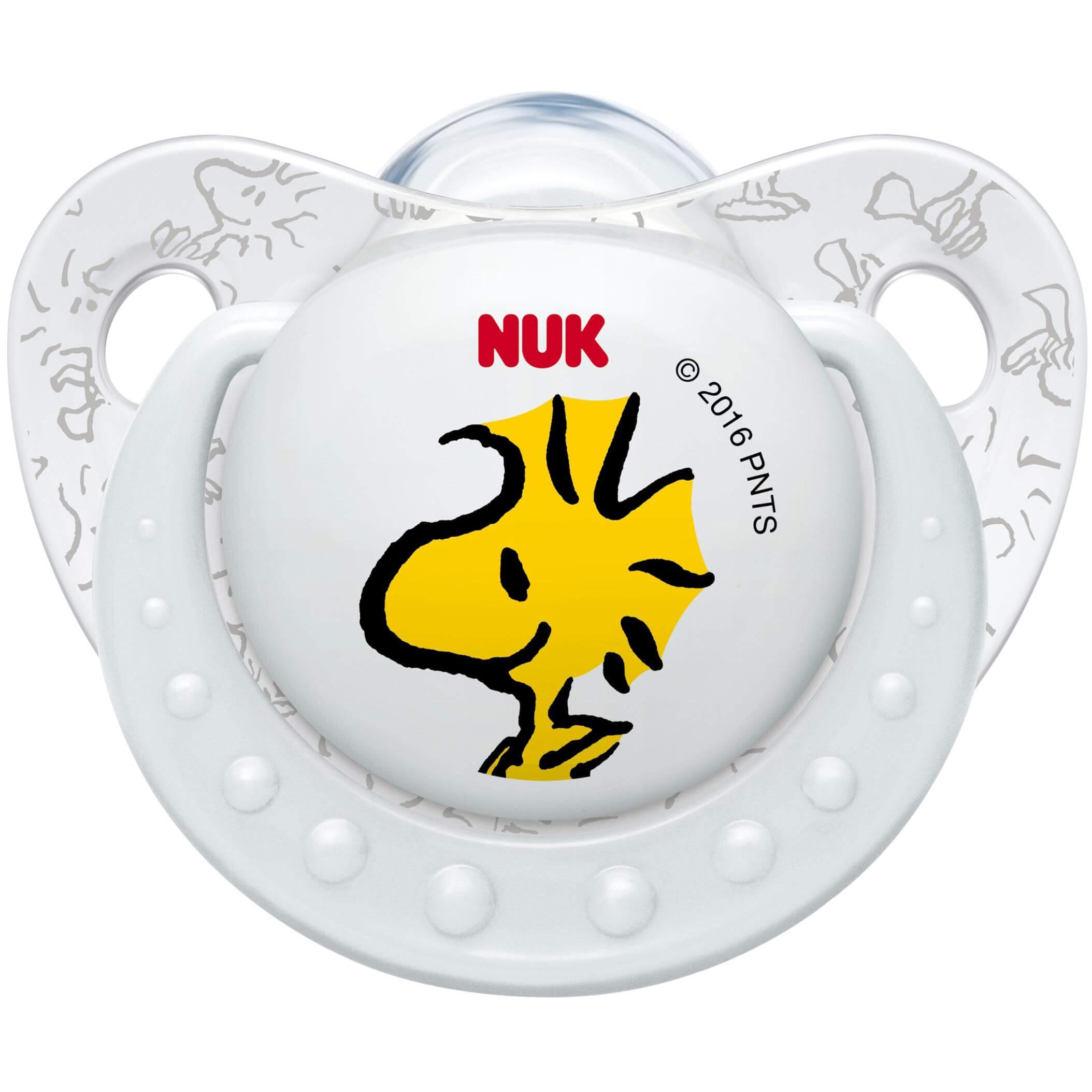 NukTrendline SnoopyPeanuts Πιπίλα Σιλικόνης με Κρίκο Χωρίς BPA Λευκό – Μέγεθος 3 (18-36 μηνών)