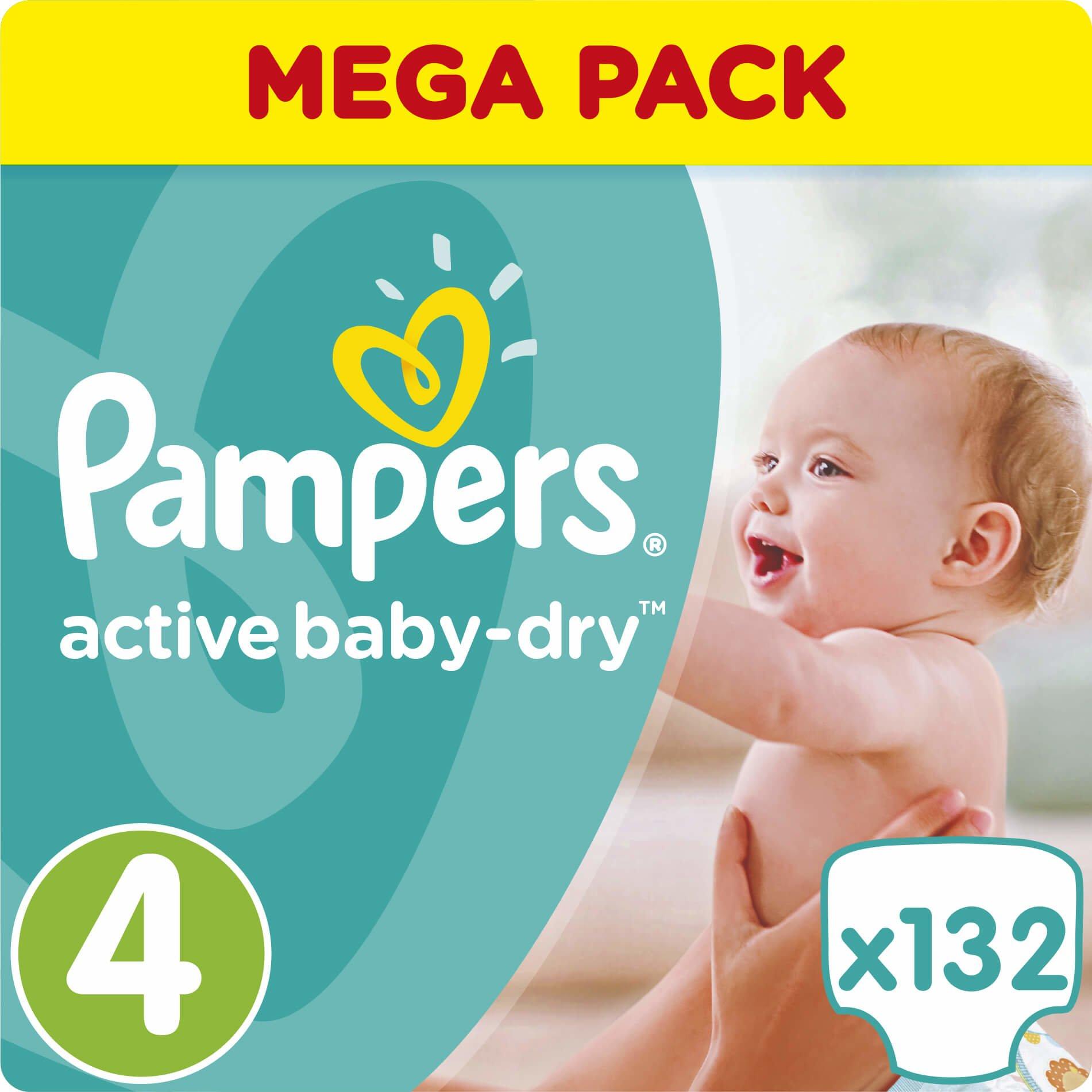Pampers Active Baby Dry Mega Pack No4 (8-14kg) 132 πάνες, μόνο 0,27€ / πάνα μητέρα παιδί   περιποίηση για το μωρό   πάνες για το μωρό