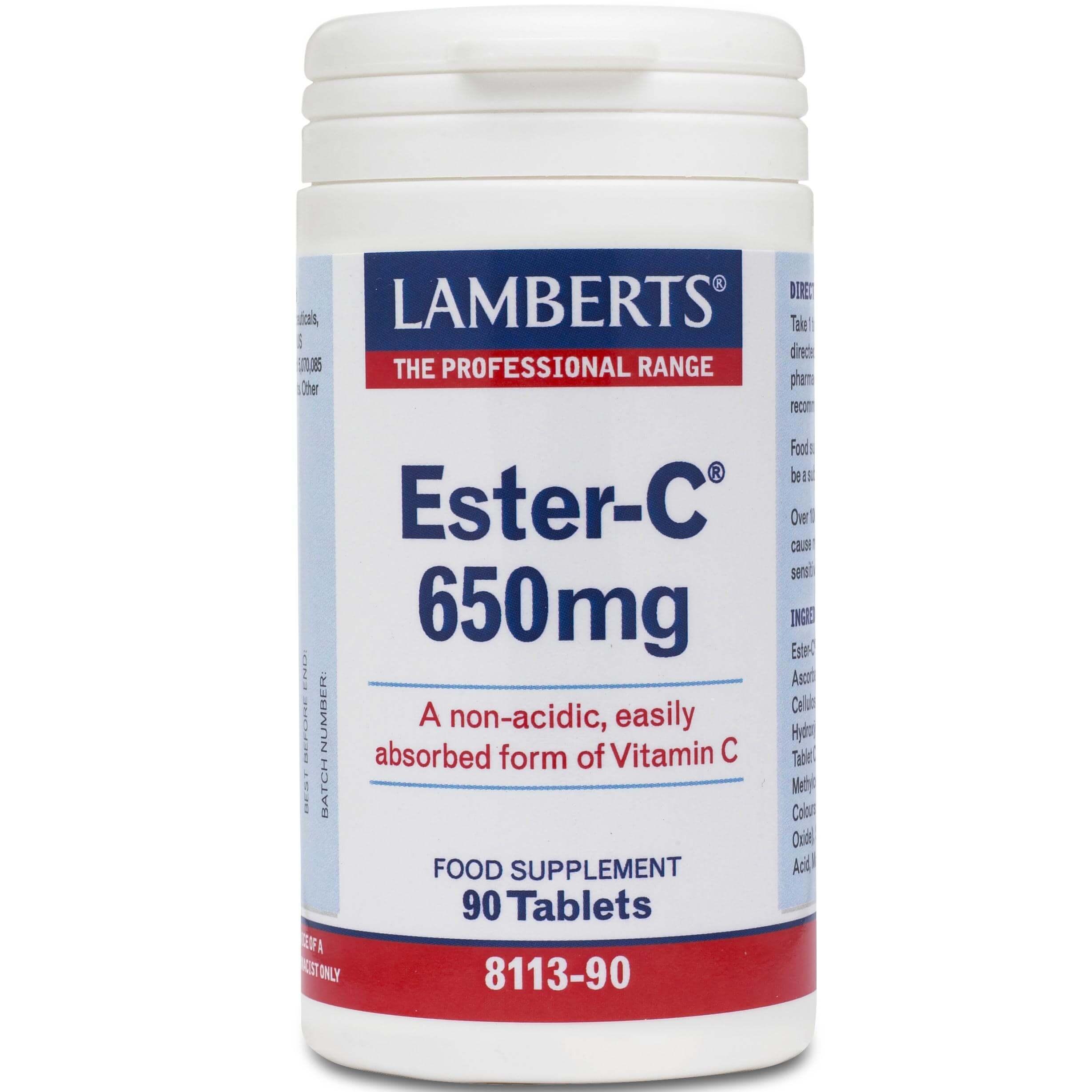 Lamberts Ester C Συμπλήρωμα Διατροφής μη Όξινης Μορφής ΒιταμίνηC650mg 90tabs