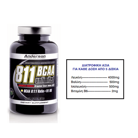 Anderson 811 Bcaa Unlimited Συμπλήρωμα Διακλαδισμένων Αμινοξέων 100 CPR