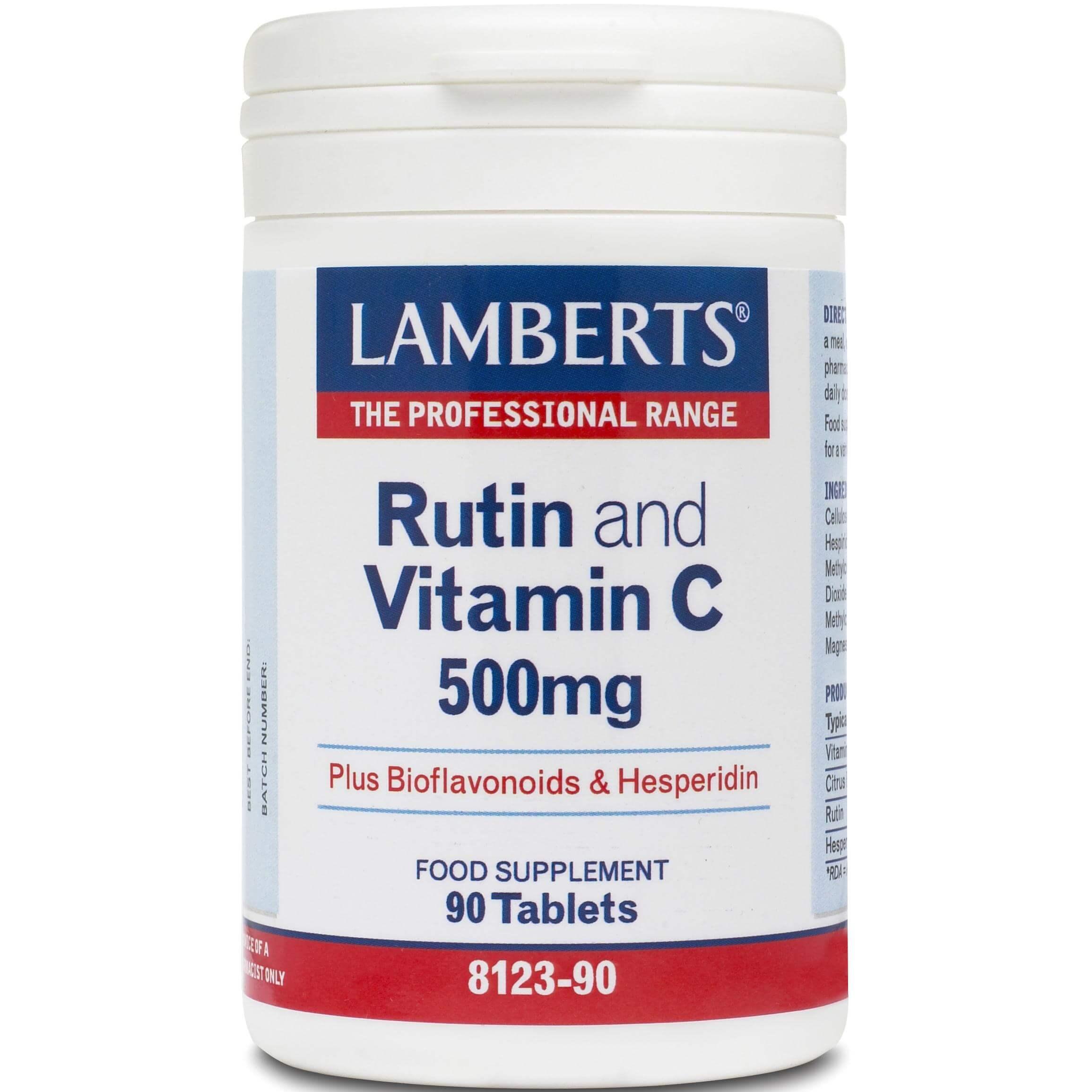 Lamberts Rutin & C & Bioflavonoids Βιταμίνη C και Βιοφλαβονοειδή 90tabs
