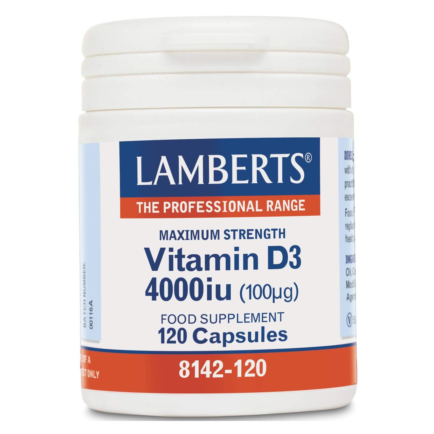 Lamberts Vitamin D3 Συμπλήρωμα Διατροφής γιατη Διόρθωση των Ανεπαρκειών της Βιταμίνης D4000iu 100μg 120tabs