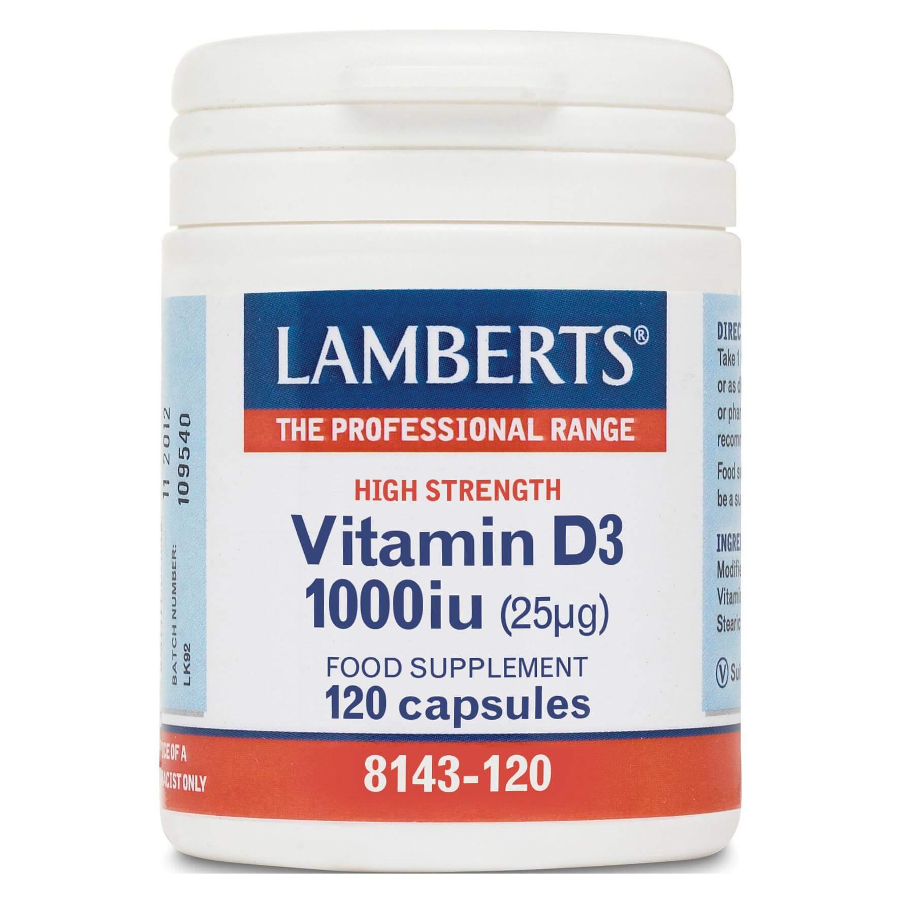 Lamberts Vitamin D3 Συμπλήρωμα Διατροφής Βιταμίνης D3 1000iu 120tabs