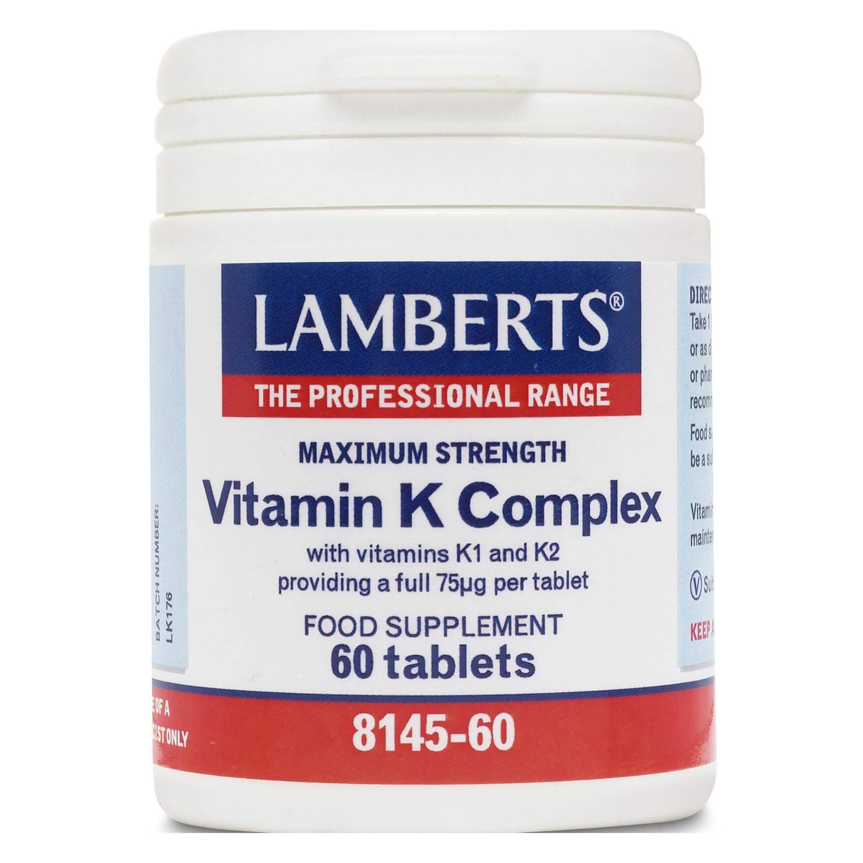 Lamberts Vitamin K Complex Συμπλήρωμα ΔιατροφήςΛιποδιαλυτής Βιταμίνης Κ που Παίζει Σημαντικό Ρόλο στην Πήξη του Αίματος60tabs