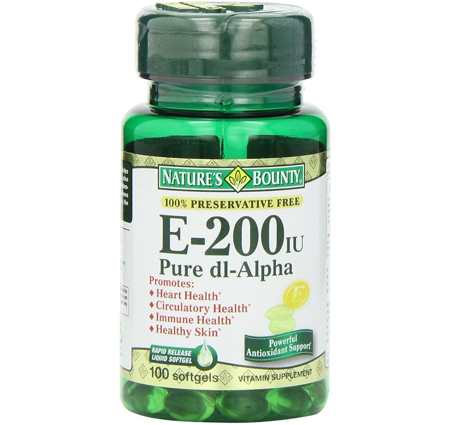 Natures Bounty ΒιταμίνηΕΣυμπλήρωμα ΔιατροφήςΠλούσια σε Αντιοξειδωτικά200IU 100caps