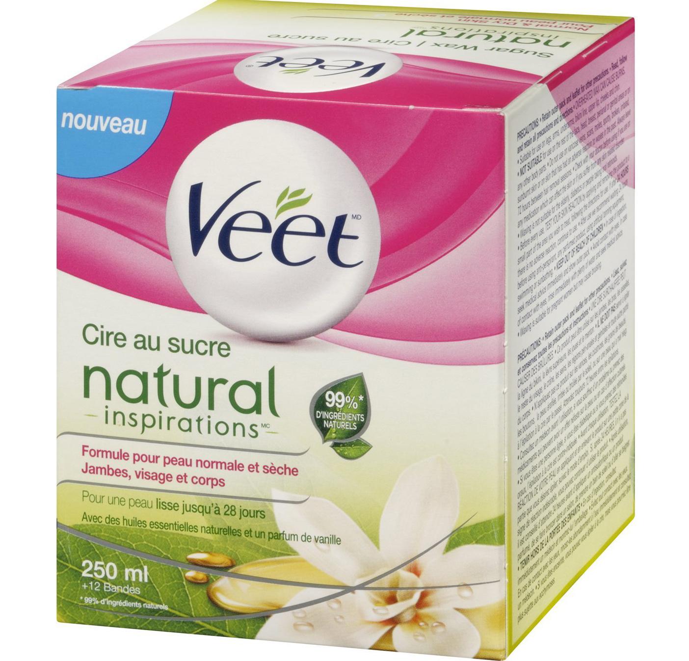 Veet Sugar Wax Natural Inspirations Ζεστό Κερί με Φυσικό Αργανέλαιο 250ml