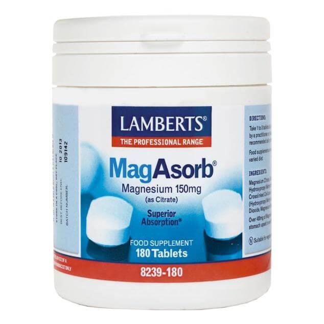 Lamberts MagAsorb Συμπλήρωμα Διατροφήςγια την Aνάπτυξη των Oστών και τη Σωστή Λειτουργία του Νευρικού Συστήματος και των Μυών – 60 tabs