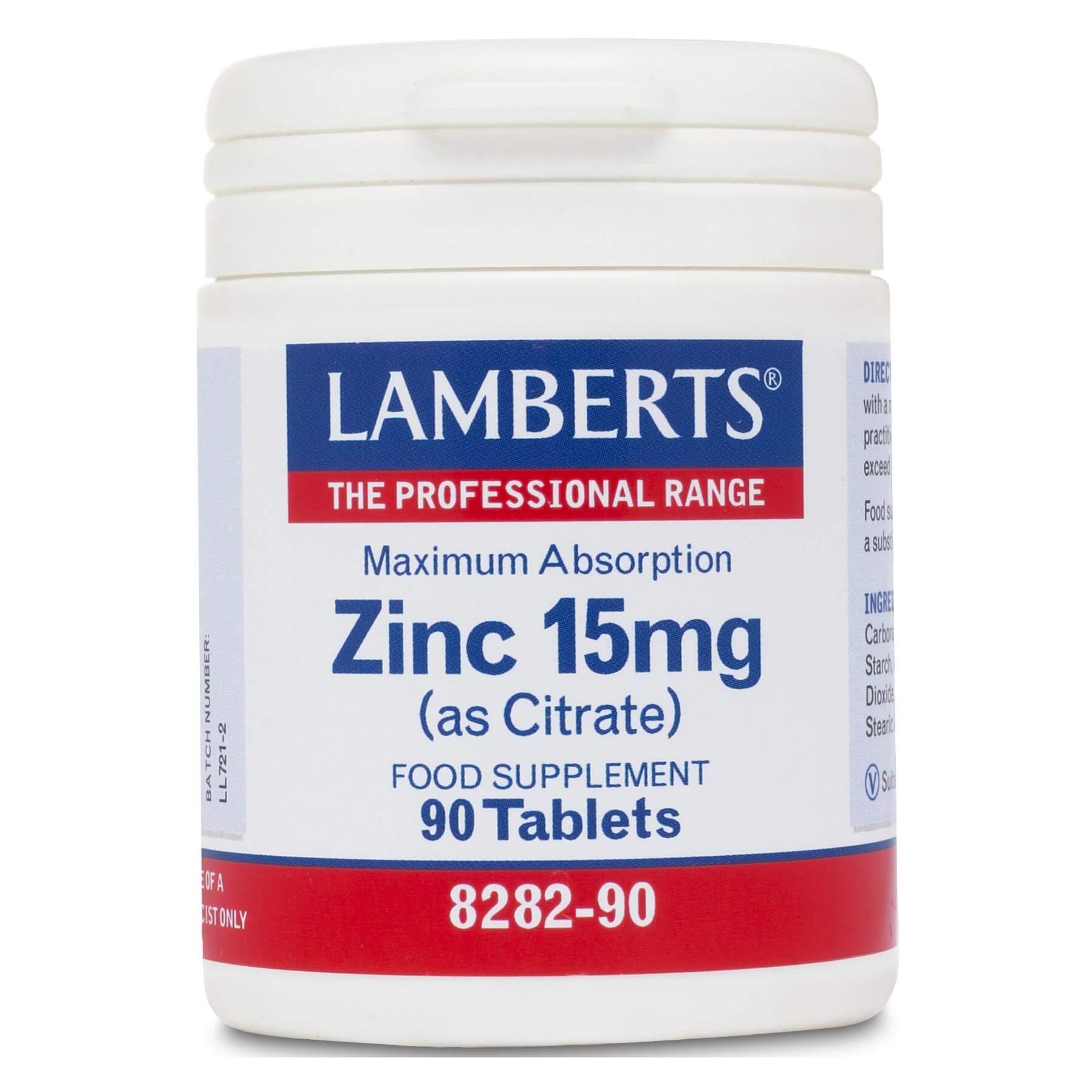 Lamberts Zinc Συμπλήρωμα Διατροφής με ΚιτρικόΨευδάργυρο15mg (as Citrate) 90tabs