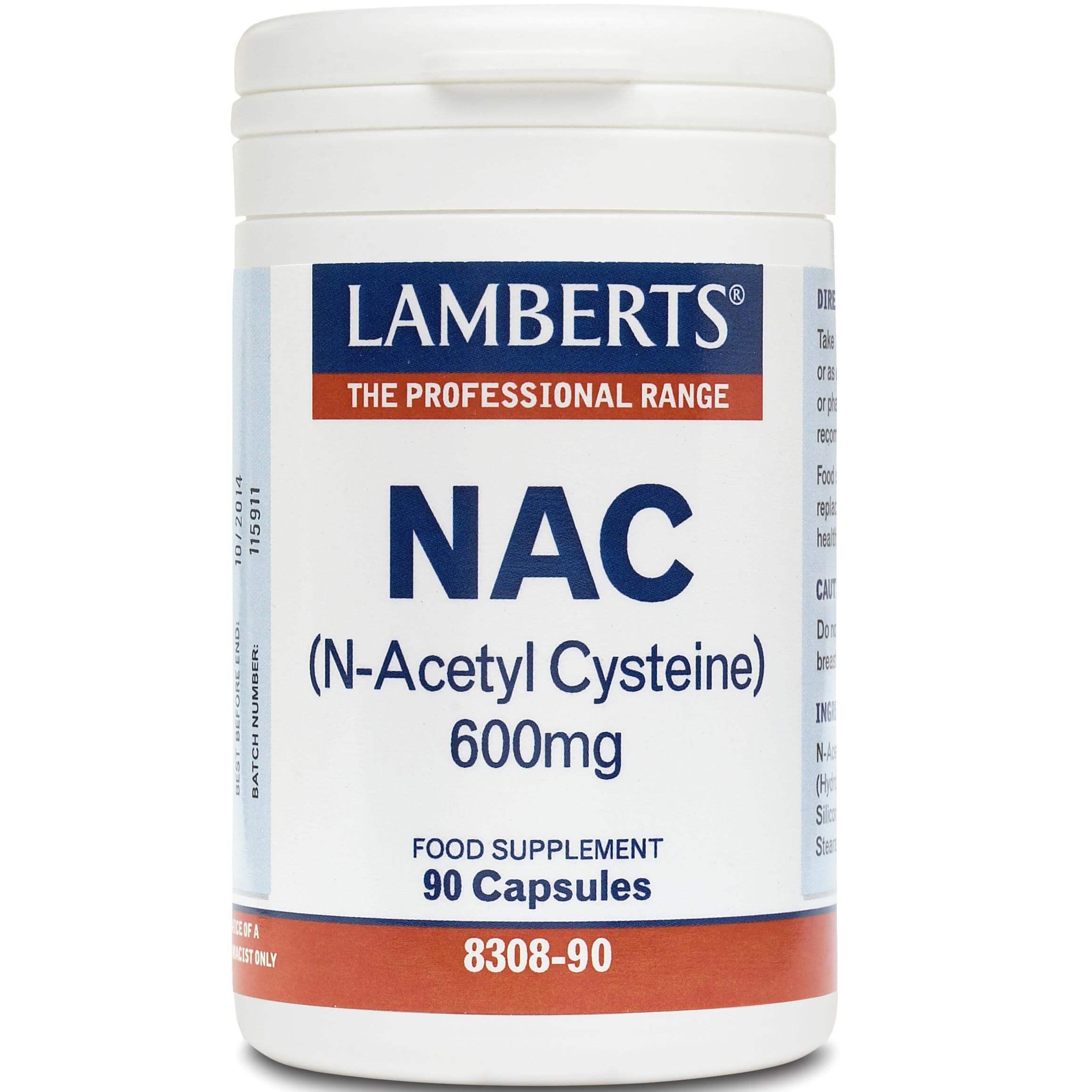 Lamberts N-Acetyl Cysteine (NAC) Συμπλήρωμα Διατροφής Ν-ακέτυλο-κυστείνης600mg 90tabs