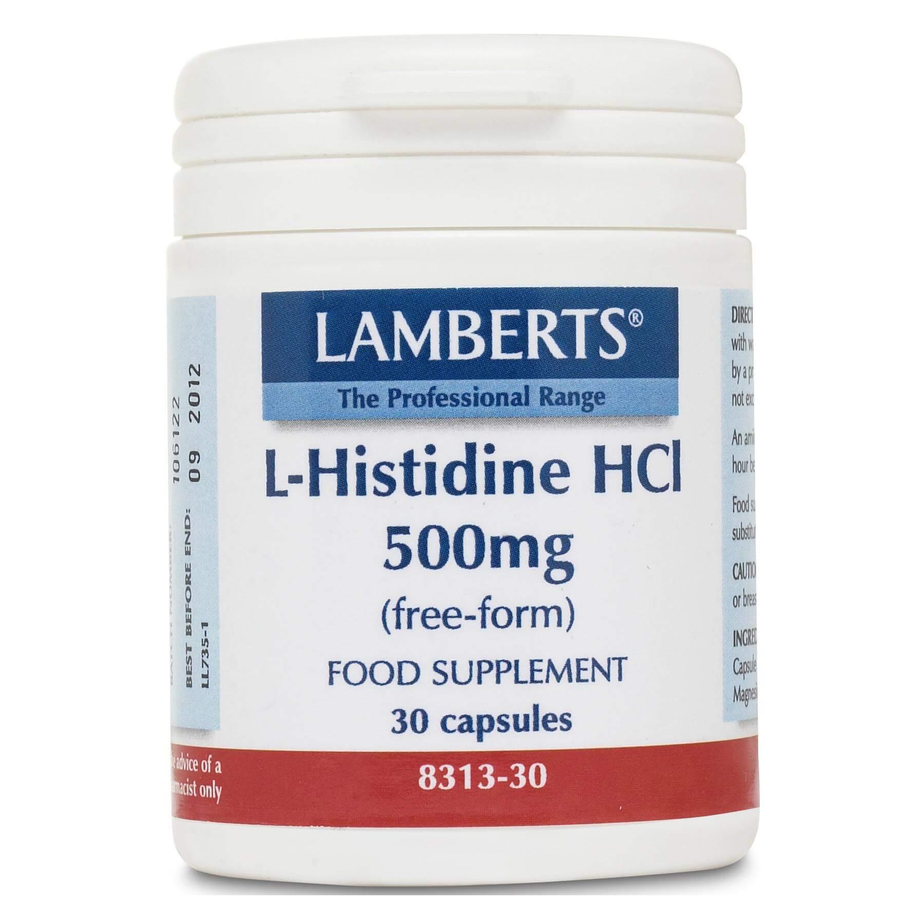 Lamberts L-Histidine HCI Συμπλήρωμα Διατροφής με Ιστιδίνη Ελεύθερης Μορφής 500mg 30caps