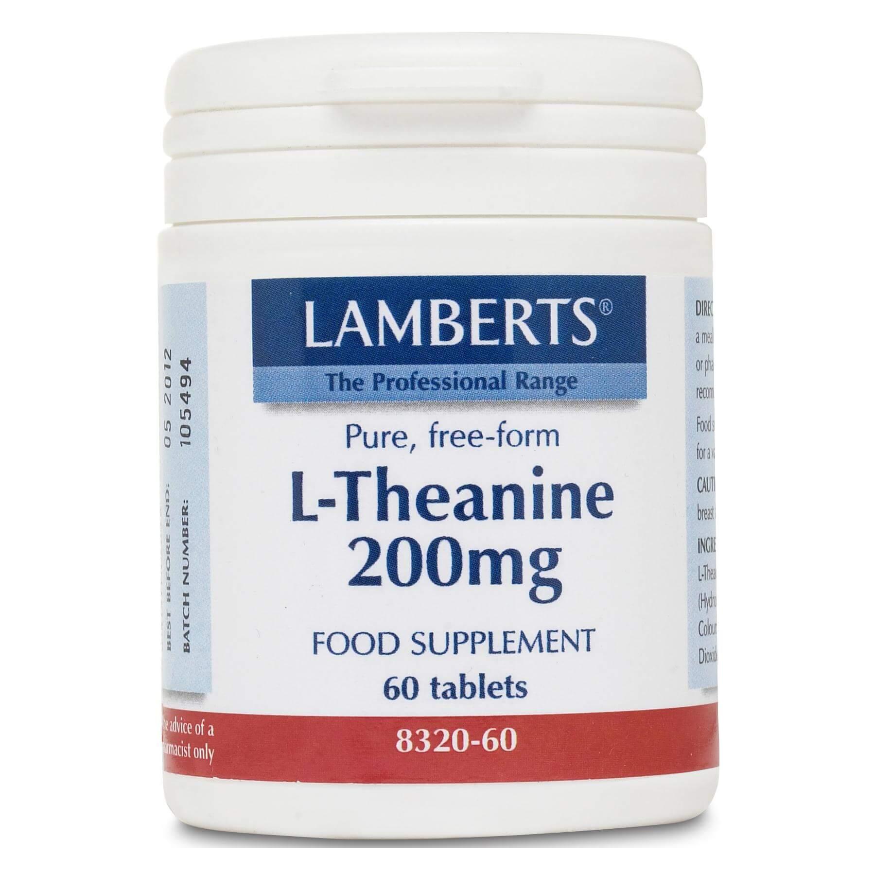 Lamberts L-Theanine Συμπλήρωμα Διατροφήςμε ΗρεμιστικήΔράσηΧωρίς την Εμφάνιση Συνοδού Υπνηλίας200mg 60tabs