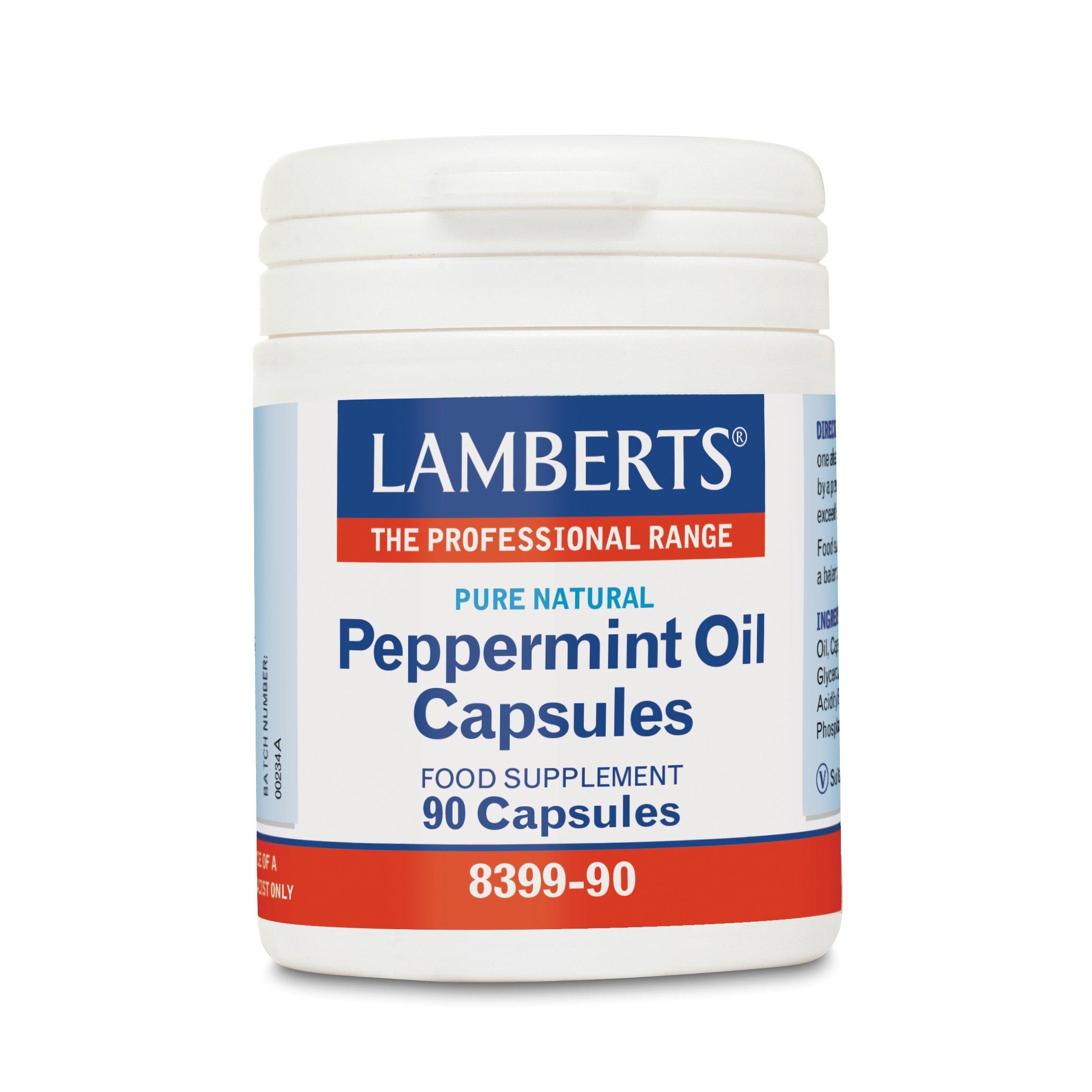 Lamberts Peppermint Oil Συμπλήρωμα Διατροφής για τη Λειτουργίατου Γαστρεντερικού Συστήματος50mg 90tabs