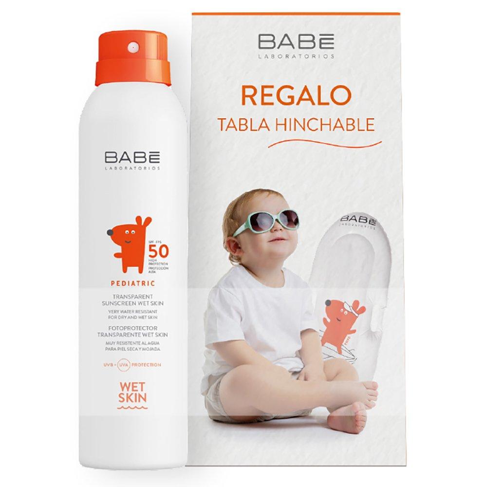 Babe Πακέτο Προσφοράς Transparent Sunscreen Wet Skin Spf50, 200ml & Δώρο Παιδικό Φουσκωτό Στρώμα Θαλάσσης 1 Τεμάχιο