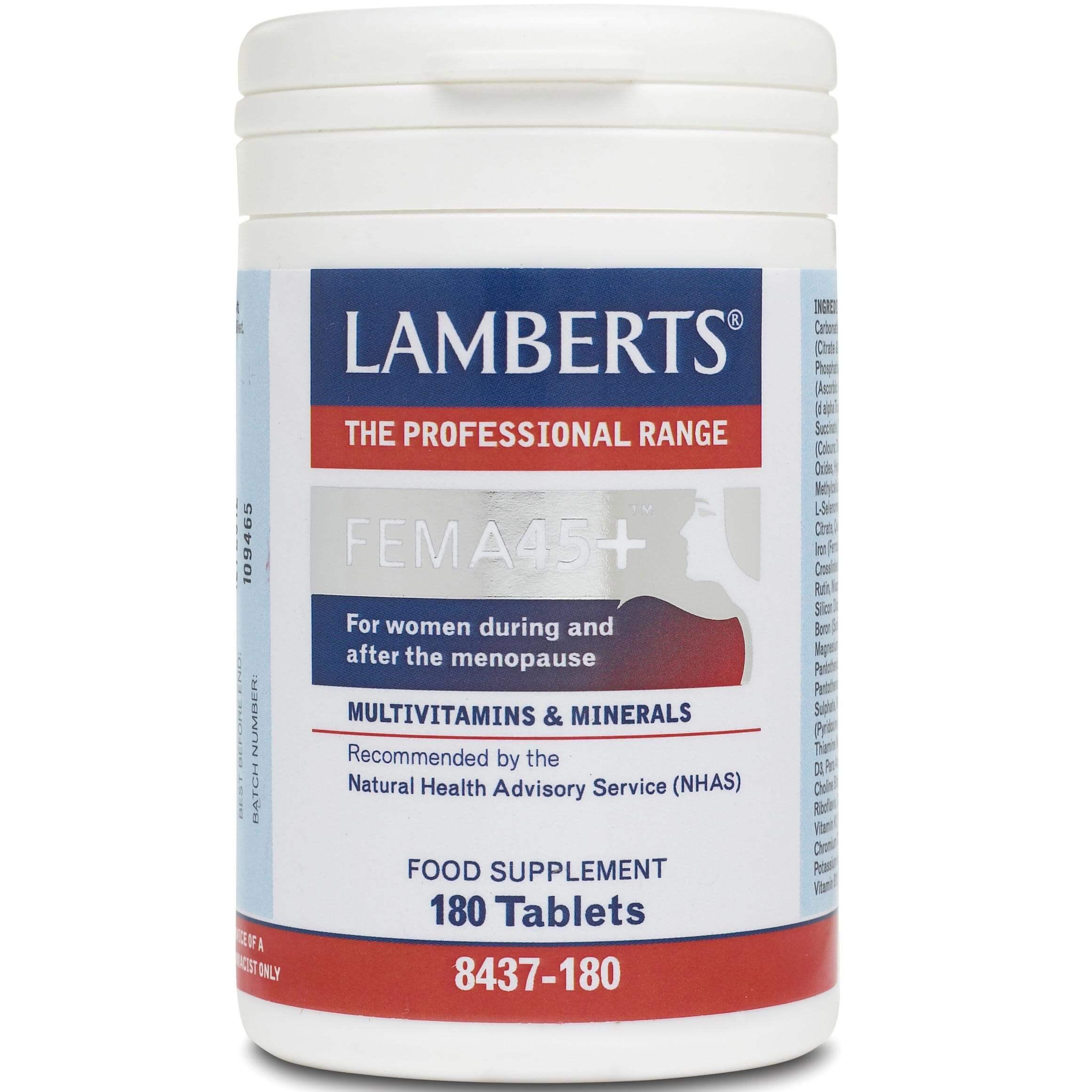 Lamberts Fema 45+ Συμπλήρωμα Διατροφής για τις Γυναίκες στην Περίοδο της Εμμηνόπαυσης 180tabs
