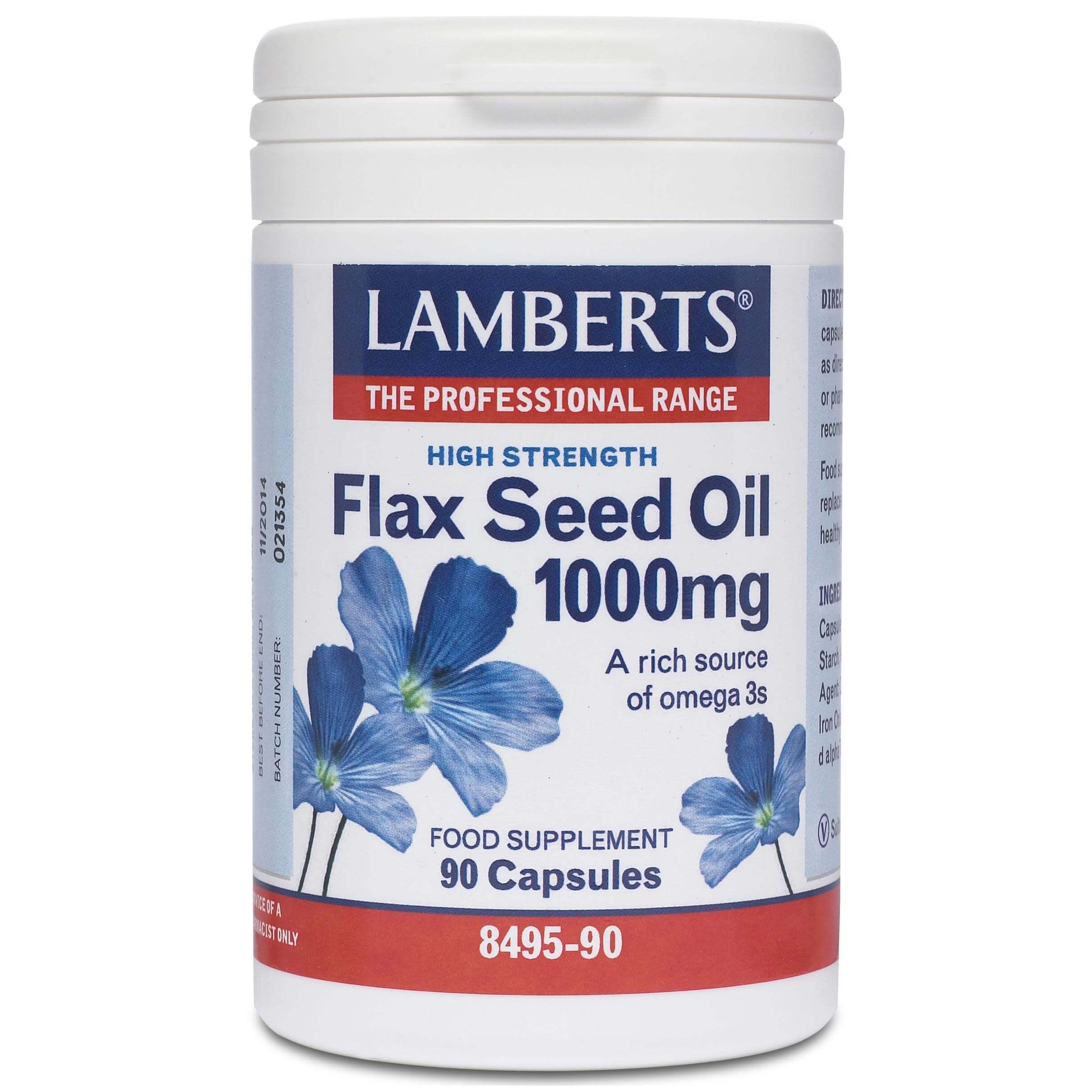 Lamberts Flax Seed Oil Συμπλήρωμα Διατροφής Πλούσιο σε Ωμέγα 3 1000mg 90tabs