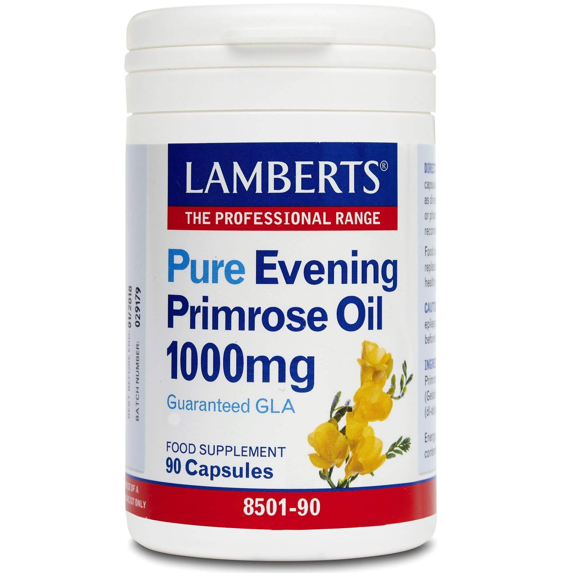Lamberts Pure Evening Primrose Oil Συπλήρωμα ΔιατροφήςΈλαιου Νυχτολούλουδου γιαΣωστή Λειτουργεία του Οργανισμού1000mg 90tabs