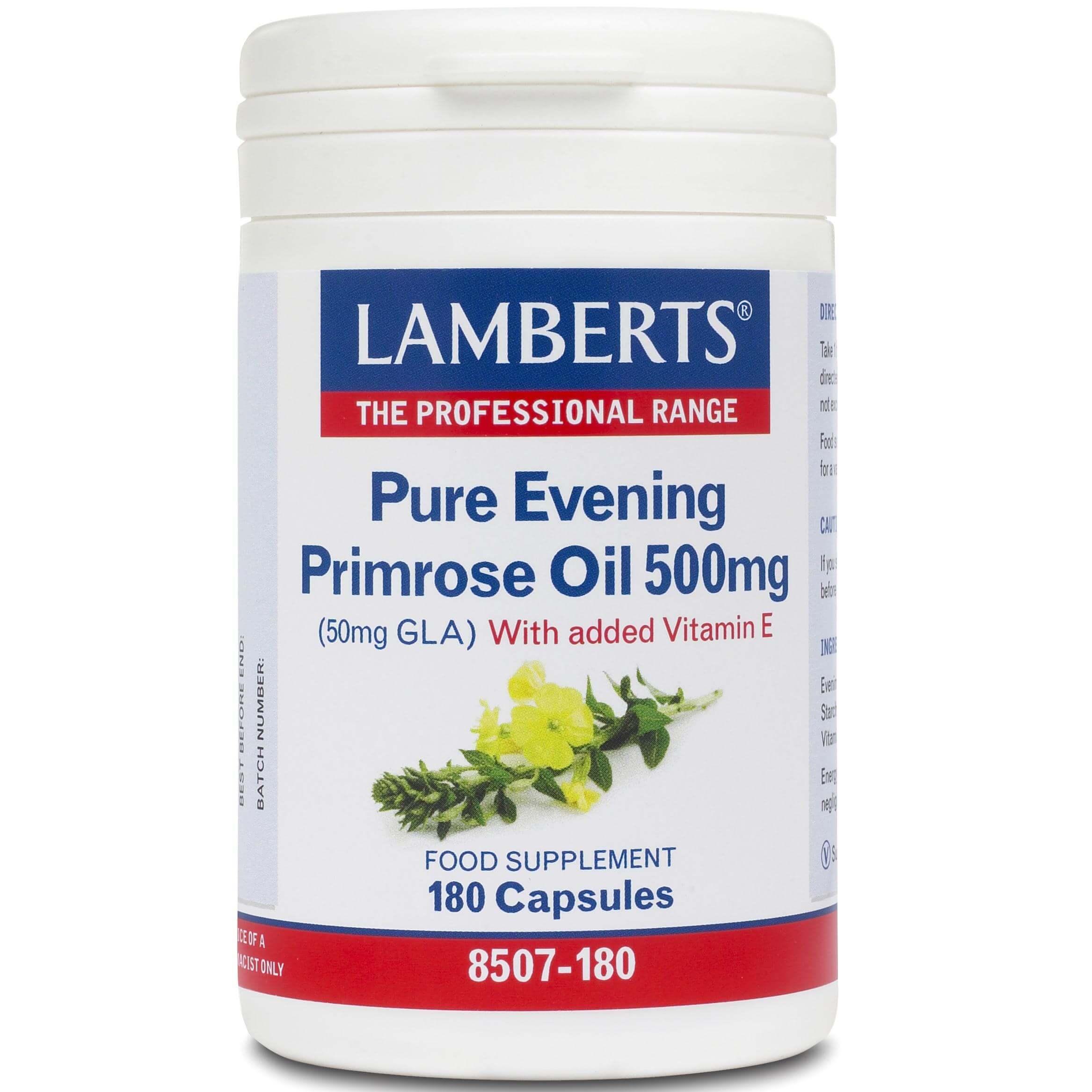 Lamberts Evening Primrose Oil Συπλήρωμα Διατροφής Έλαιου Νυχτολούλουδου γιαΣωστή Λειτουργεία του Οργανισμού500mg 180tabs