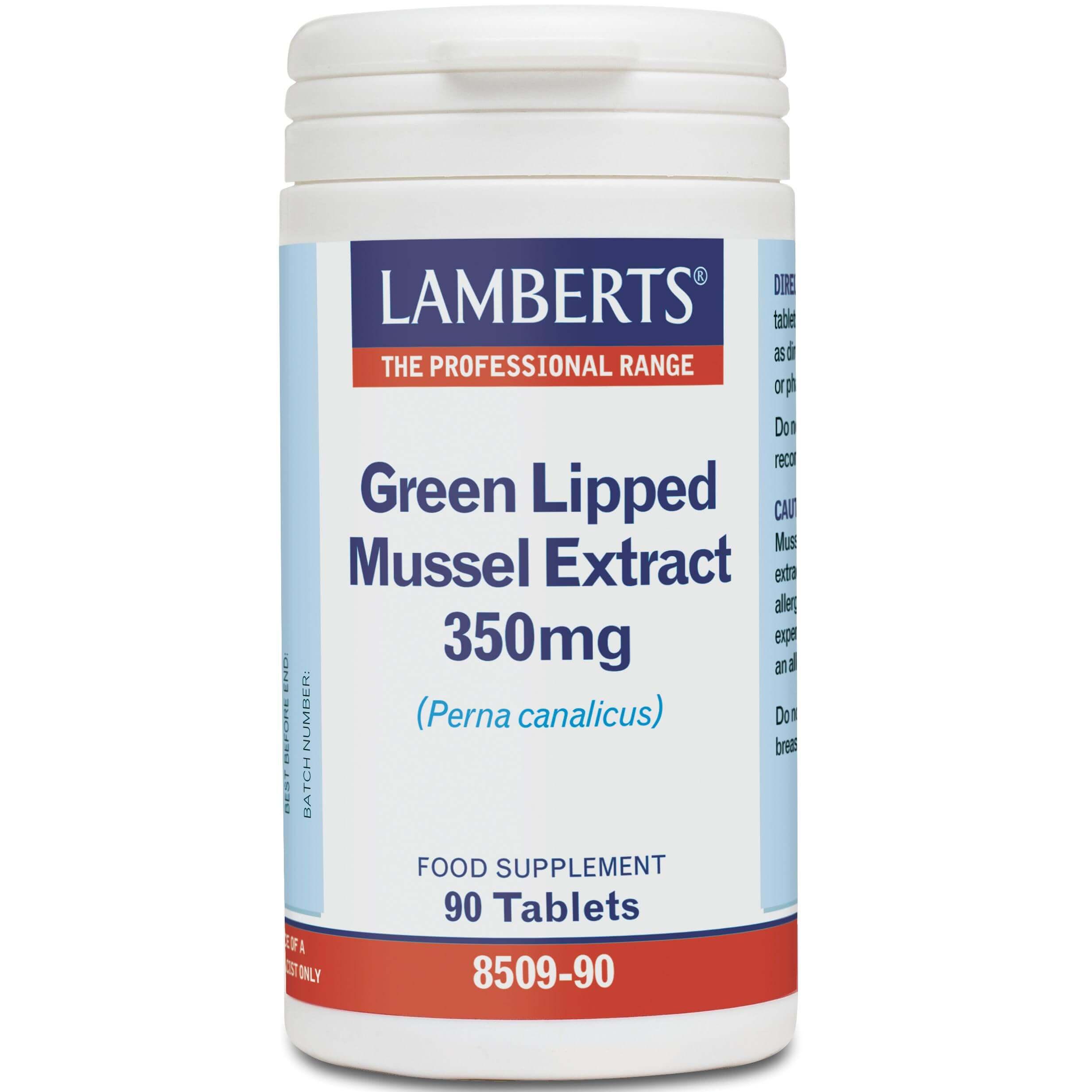 Lamberts Green Lipped Mussel Extract Συμπλήρωμα Διατροφής για την Διατήρηση της Ευκινησίας των Αρθρώσεων350mg 90Tabs